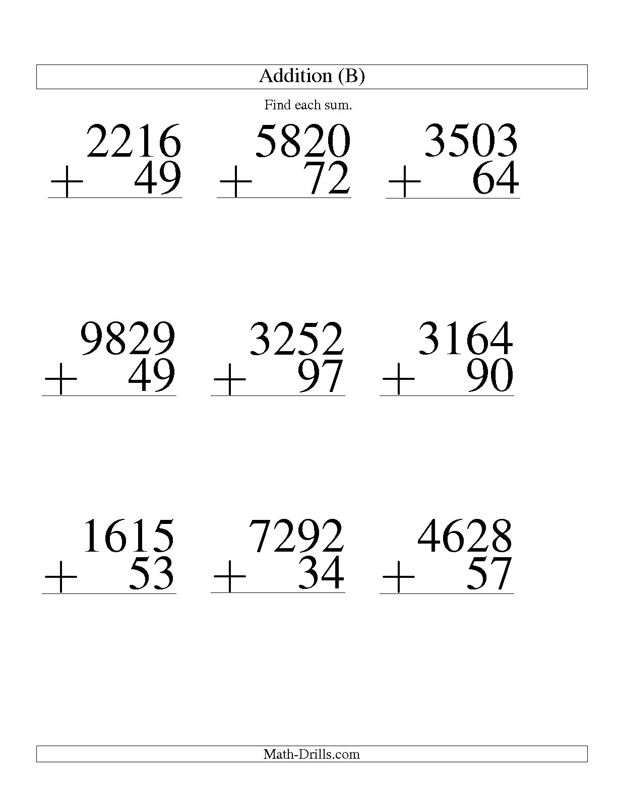 13 Best Images Of Large Print Math Addition Worksheets