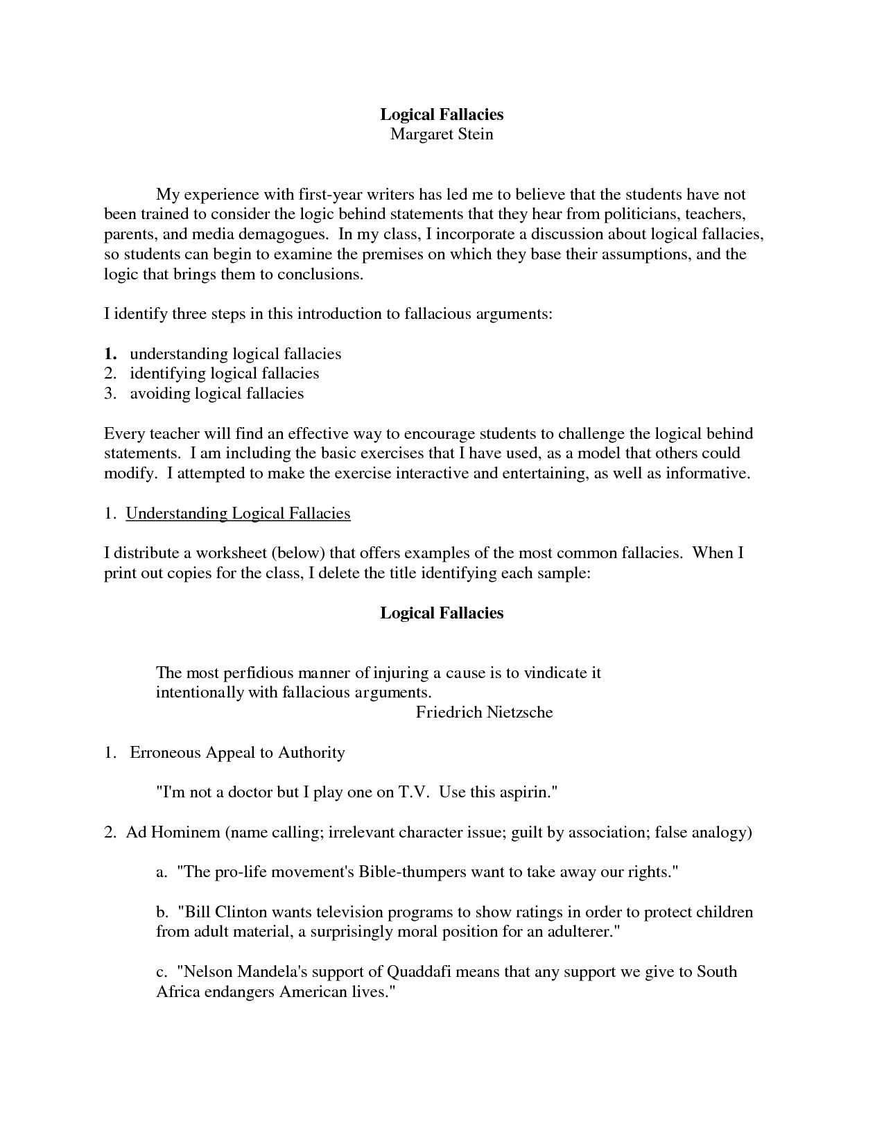 Fallacy Practice Worksheet