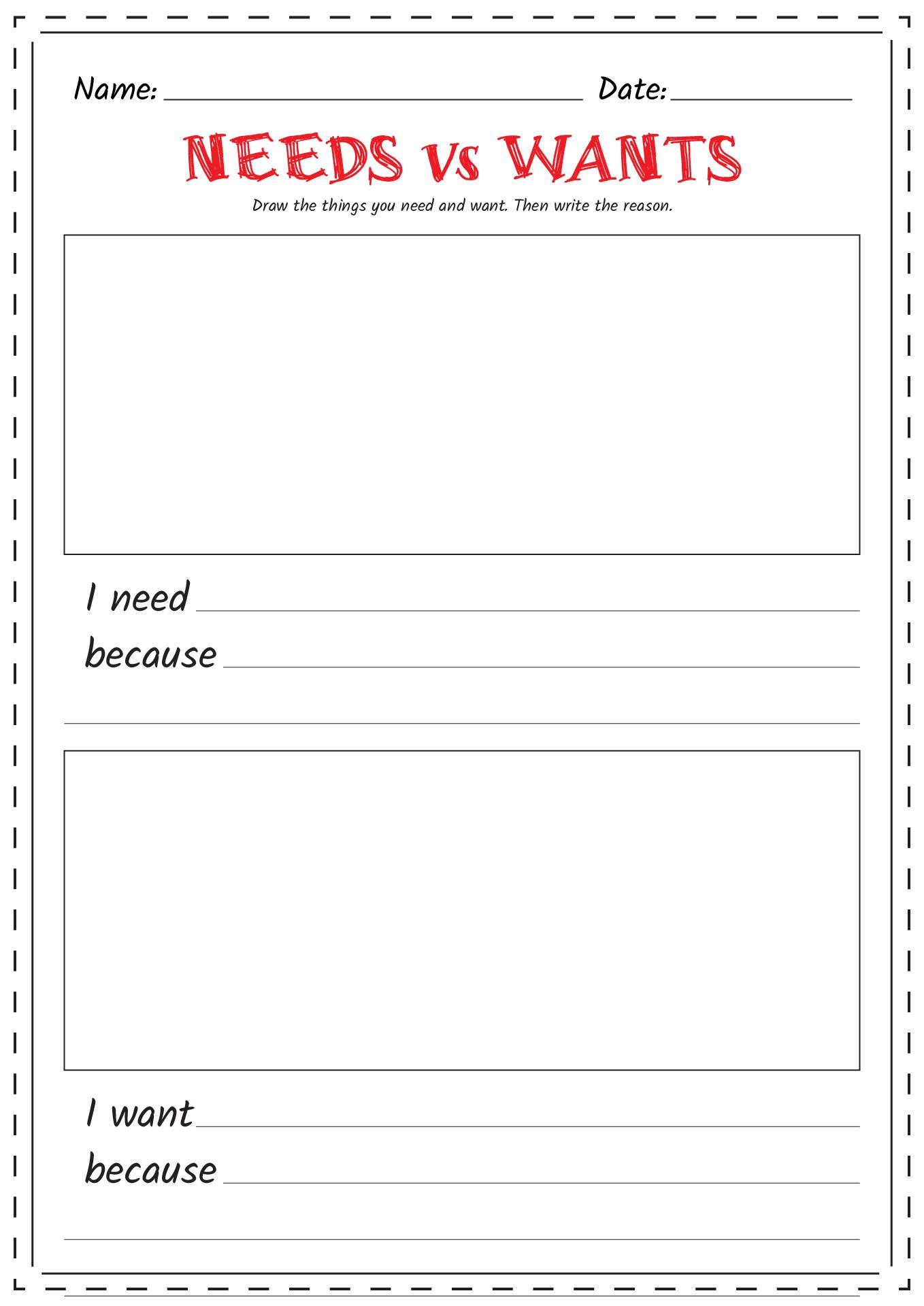 Needs Vs Wants Preschool Worksheet