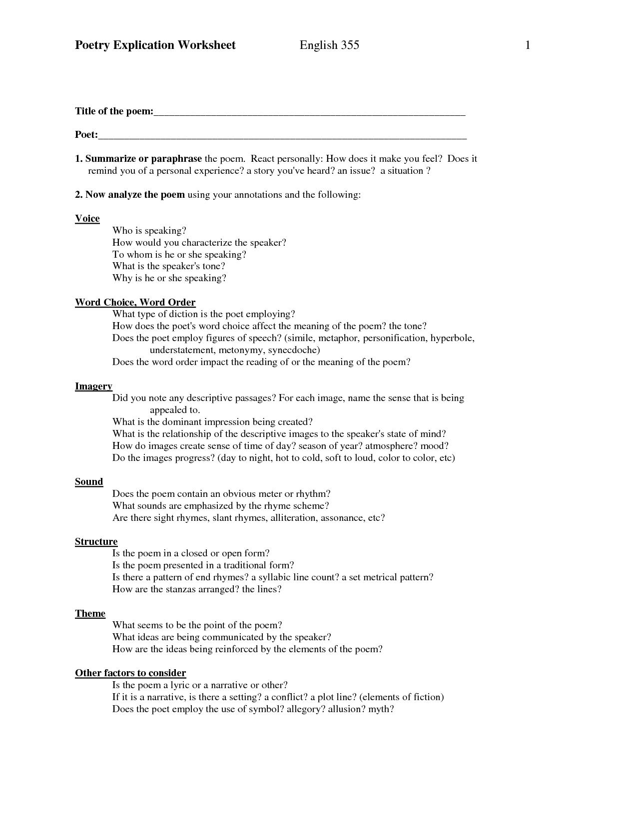 Diamante Poetry Printable Worksheet