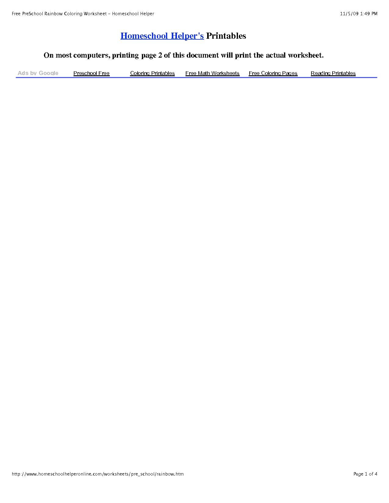 Rainbow Math Worksheet
