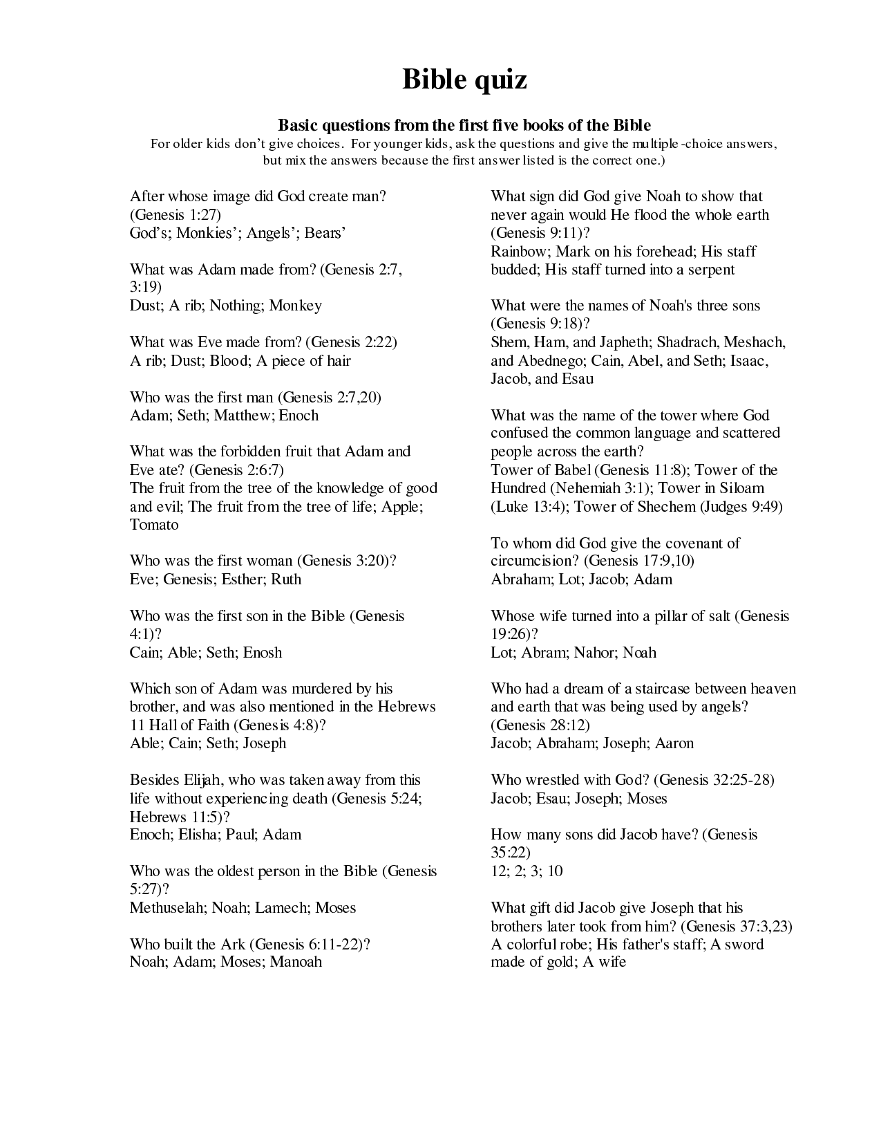 Bible Questions Worksheets