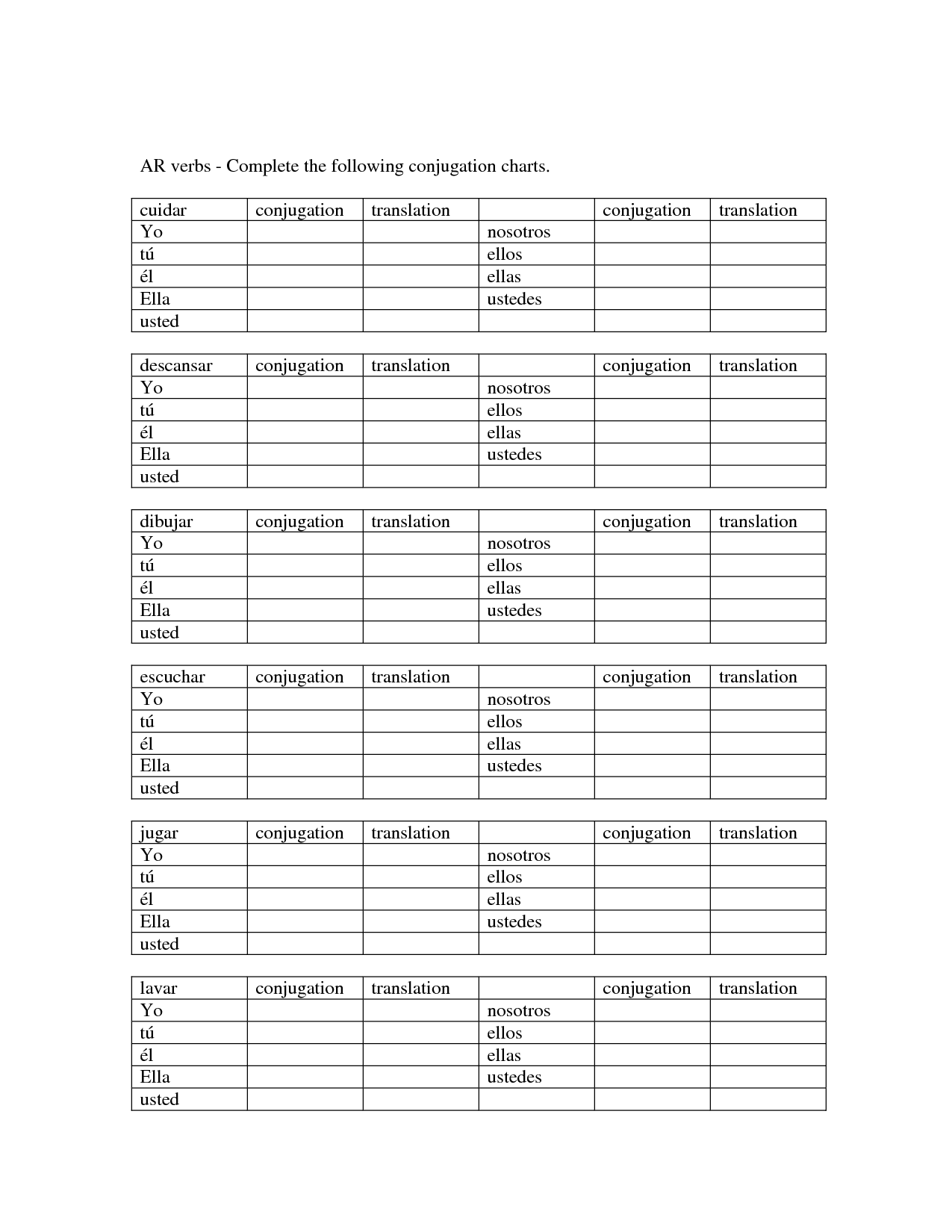 19 Best Images Of Conjugation Worksheets Printable