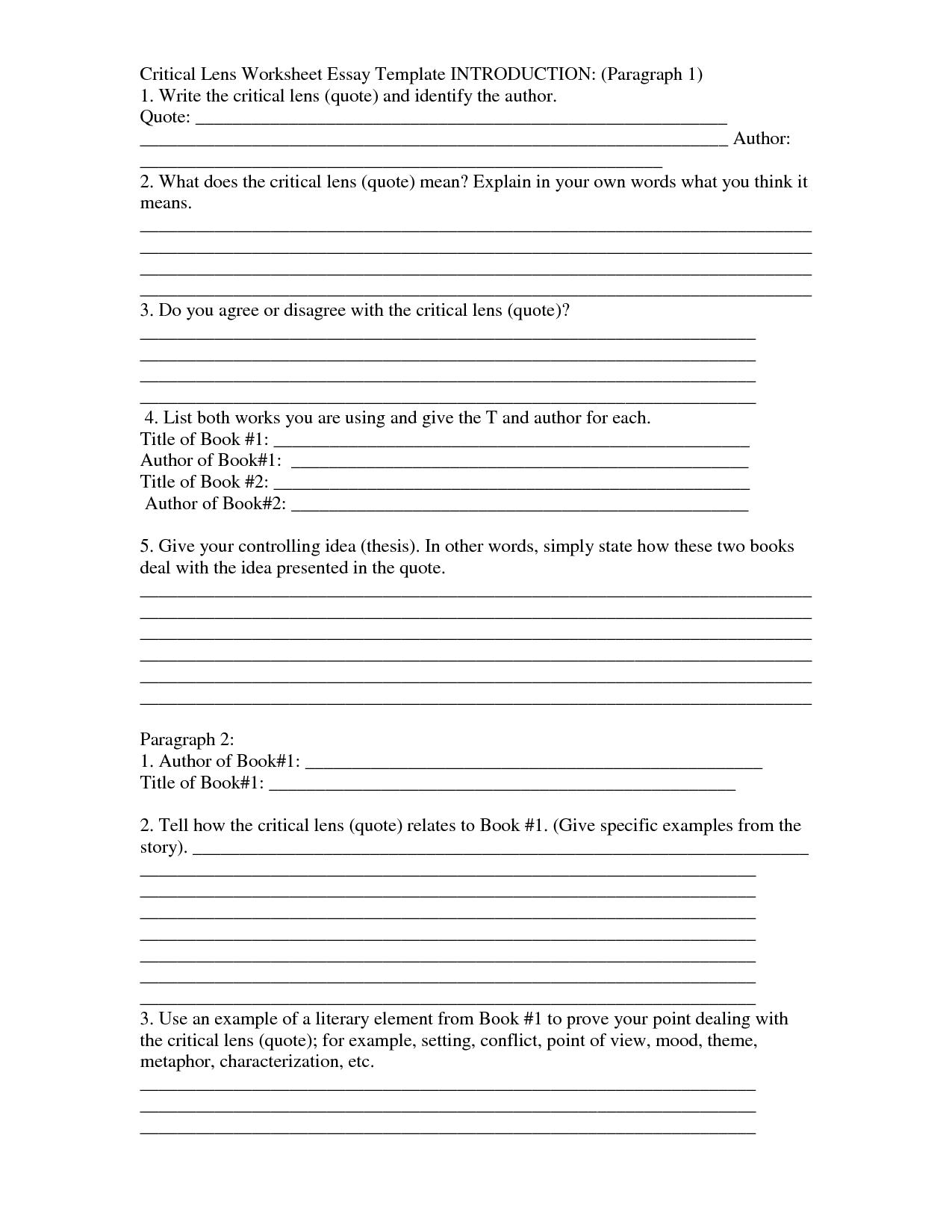 Writing An Essay Introduction Worksheet Essays Hub