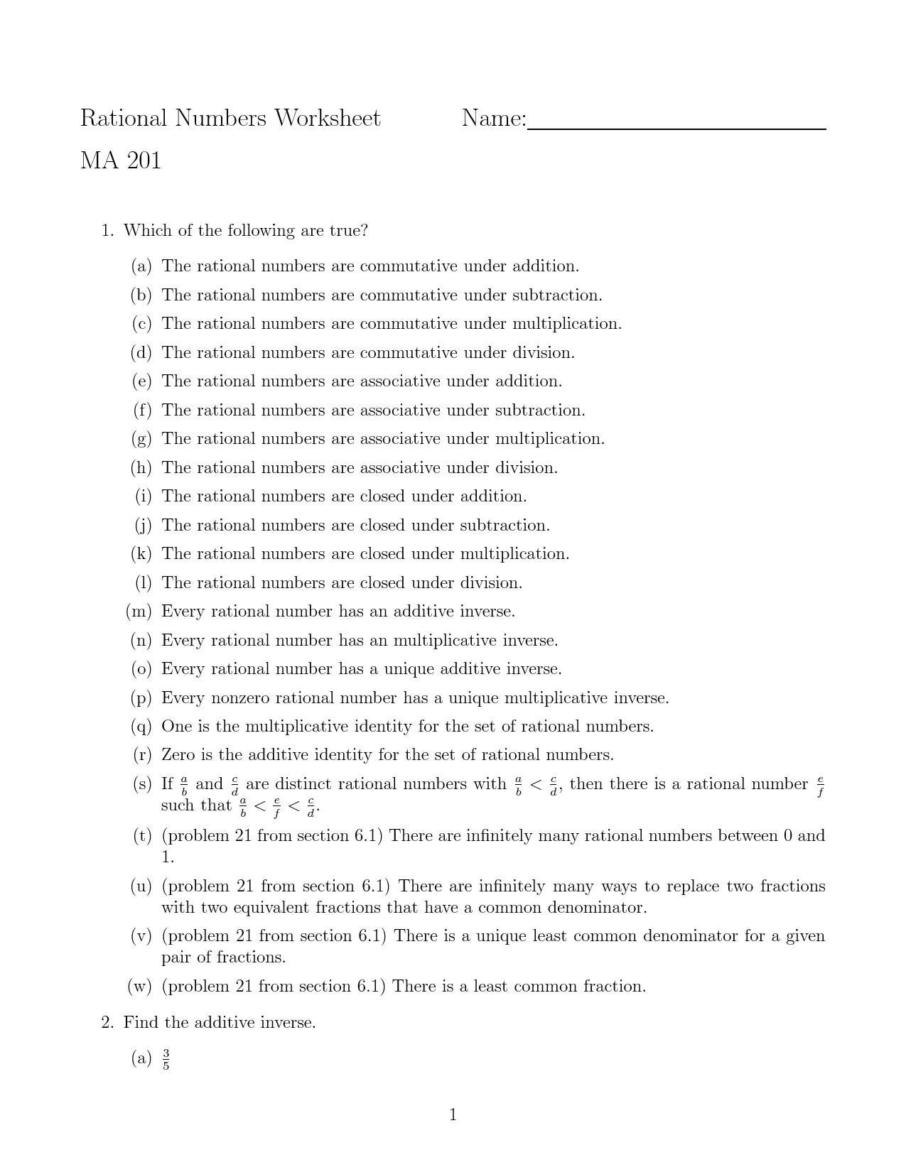 Additive Inverse Property Worksheets