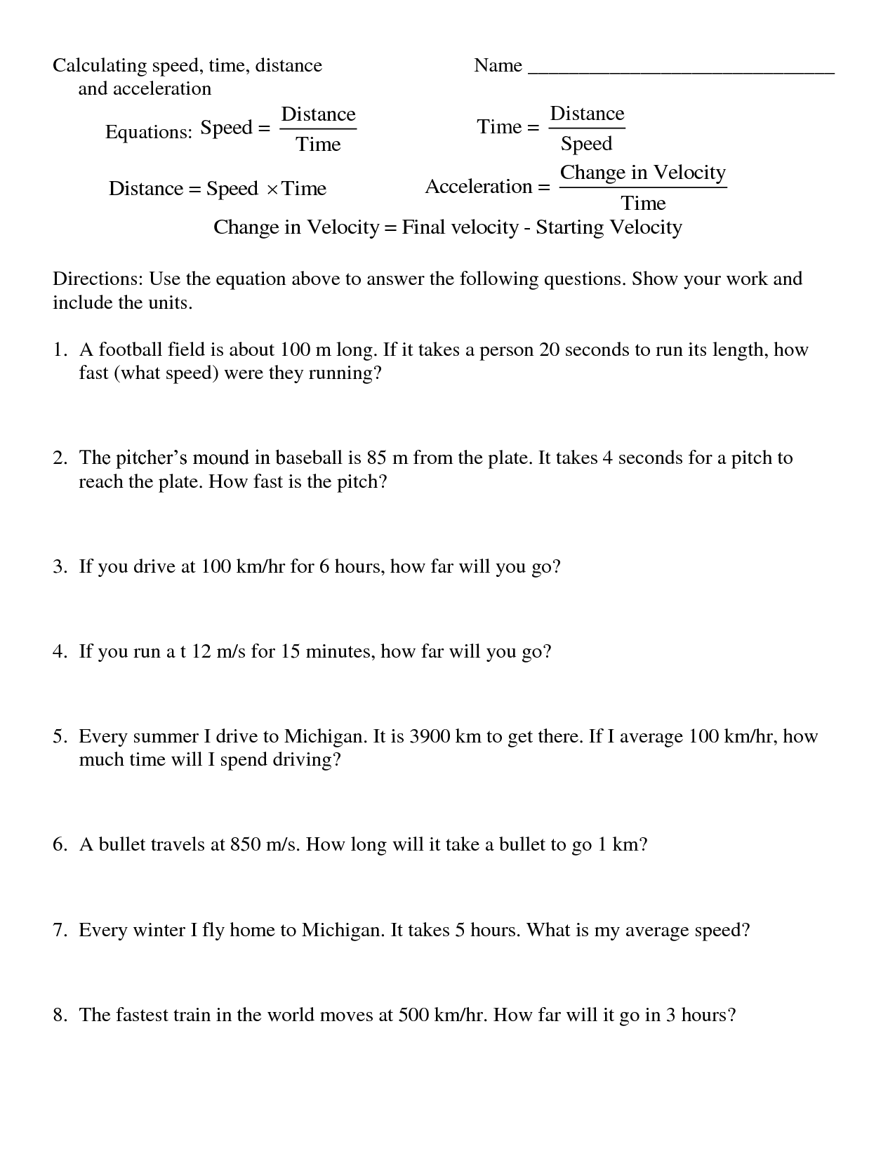 Calculating Speed Problems Worksheet