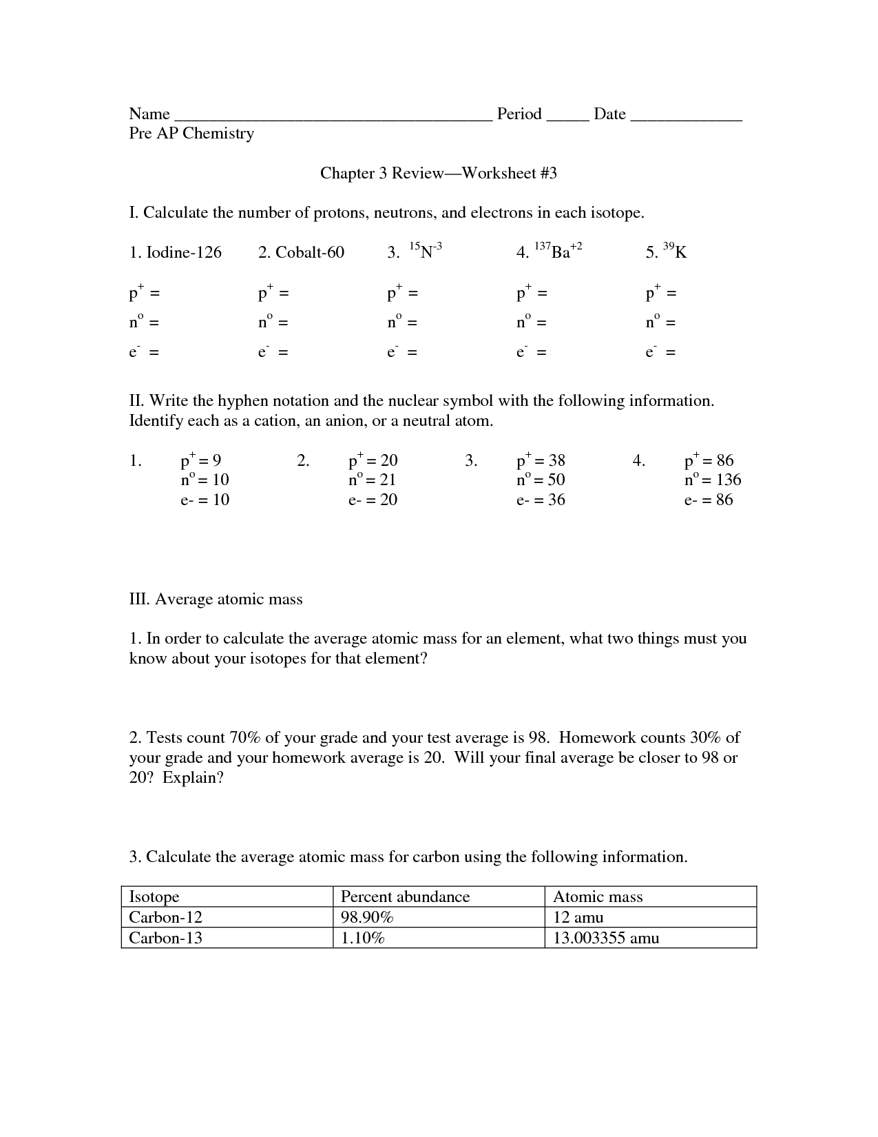 Isotope Notation Chemistry Worksheet Answers