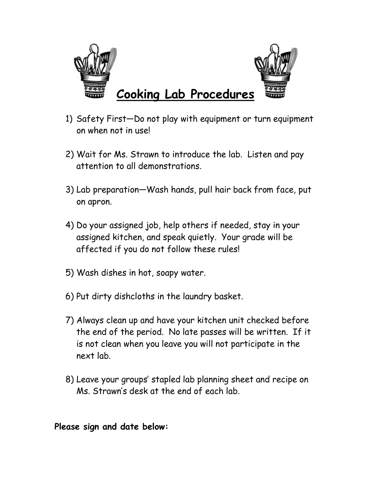Kitchen Safety Rules Worksheet