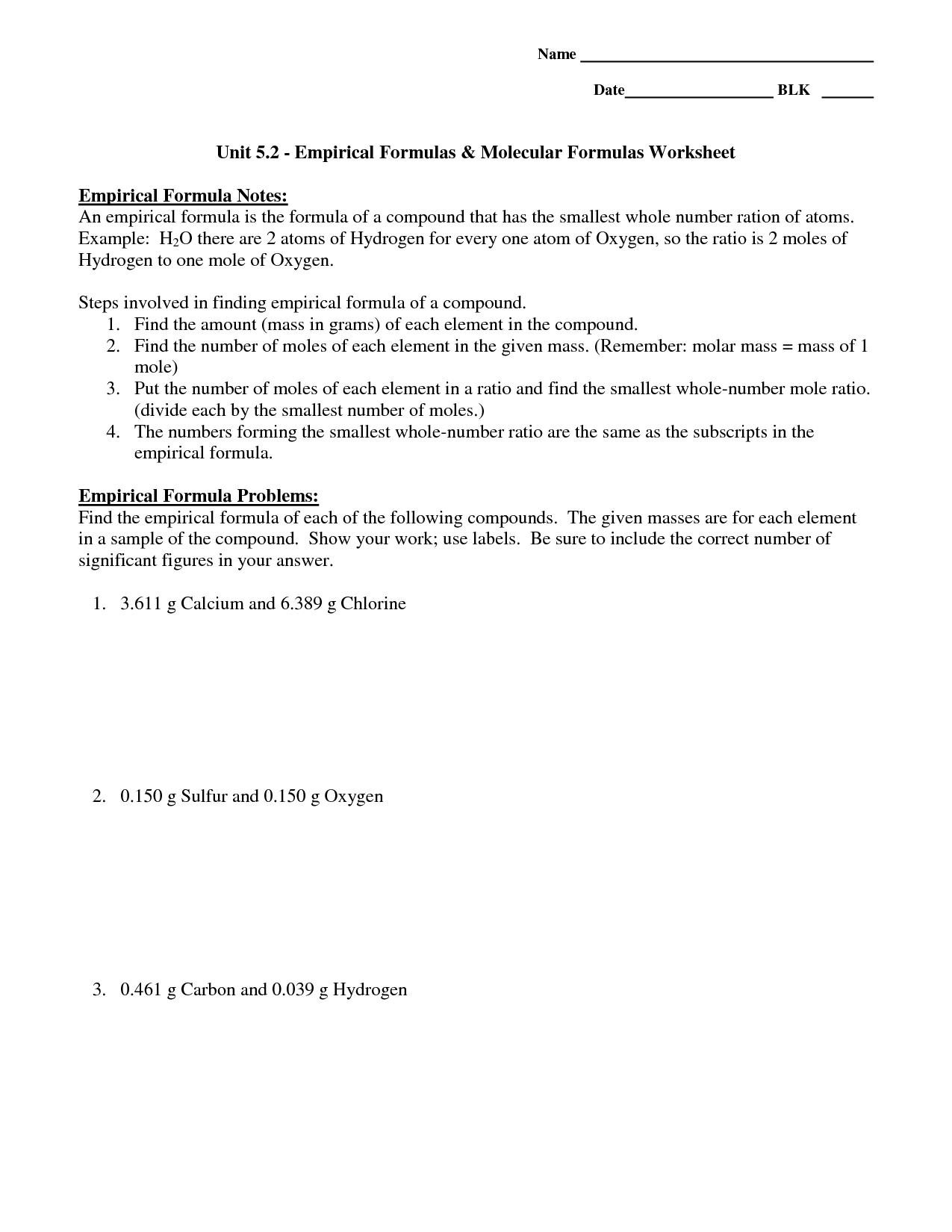 Empirical Formula And Molecular Formula Worksheet Answer Key