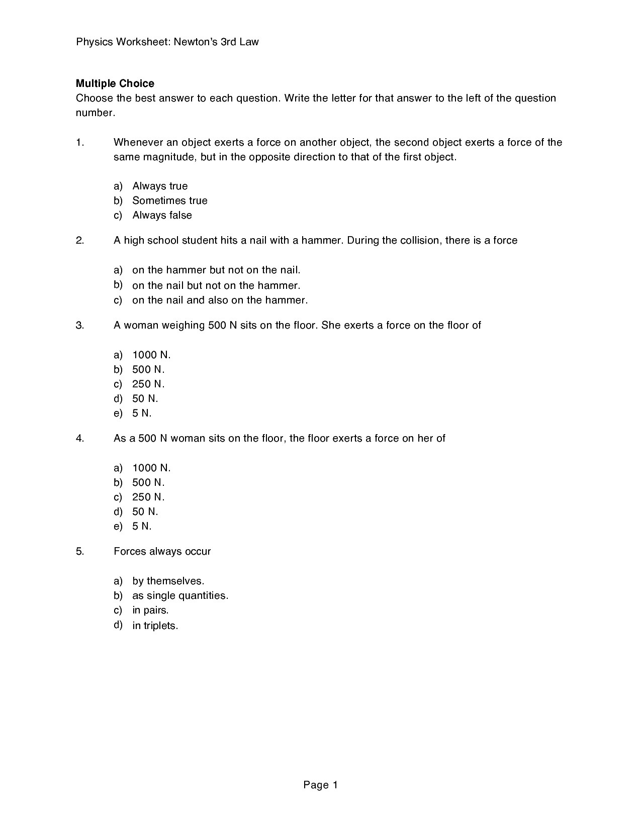 Newton S Second Law Worksheet Answers Doc