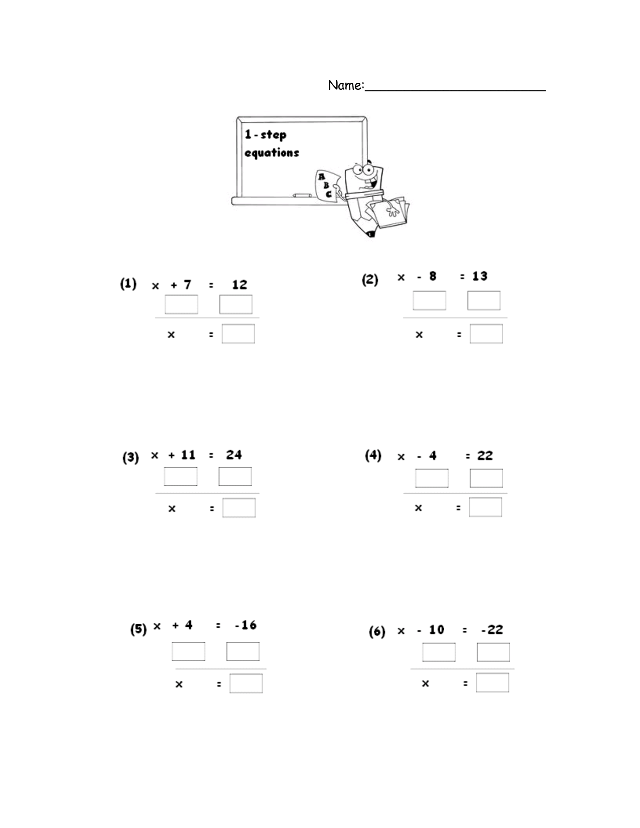 15 Best Images Of One Step Equations Worksheets 7th Grade