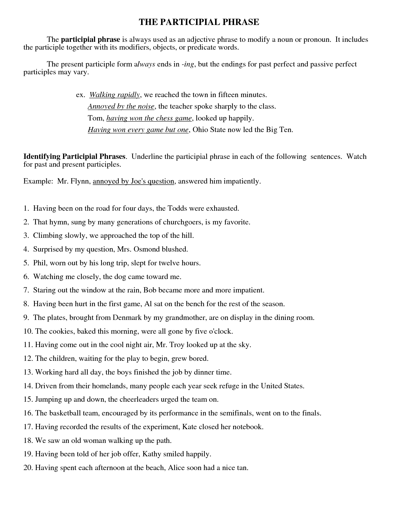 Prepositional Phrase Worksheet