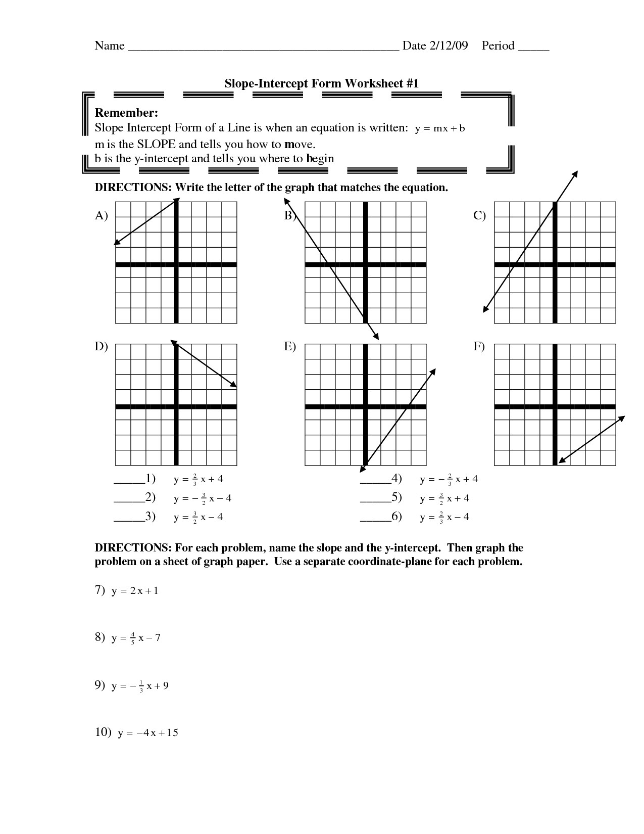 Solving Slope Intercept Form Worksheet