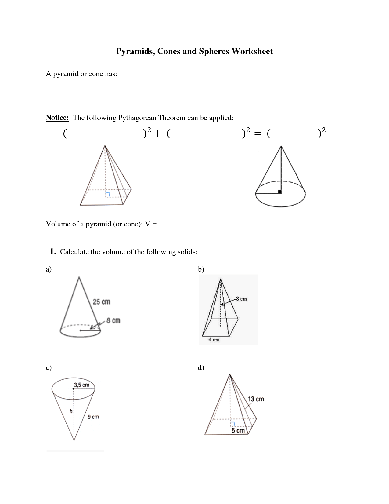 Worksheet Volume Of Sphere