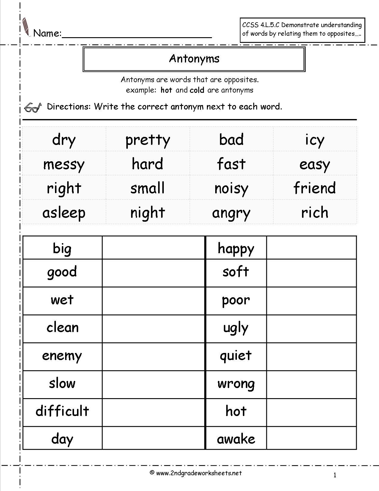 13 Best Images Of Antonym Worksheets For 3rd Grade