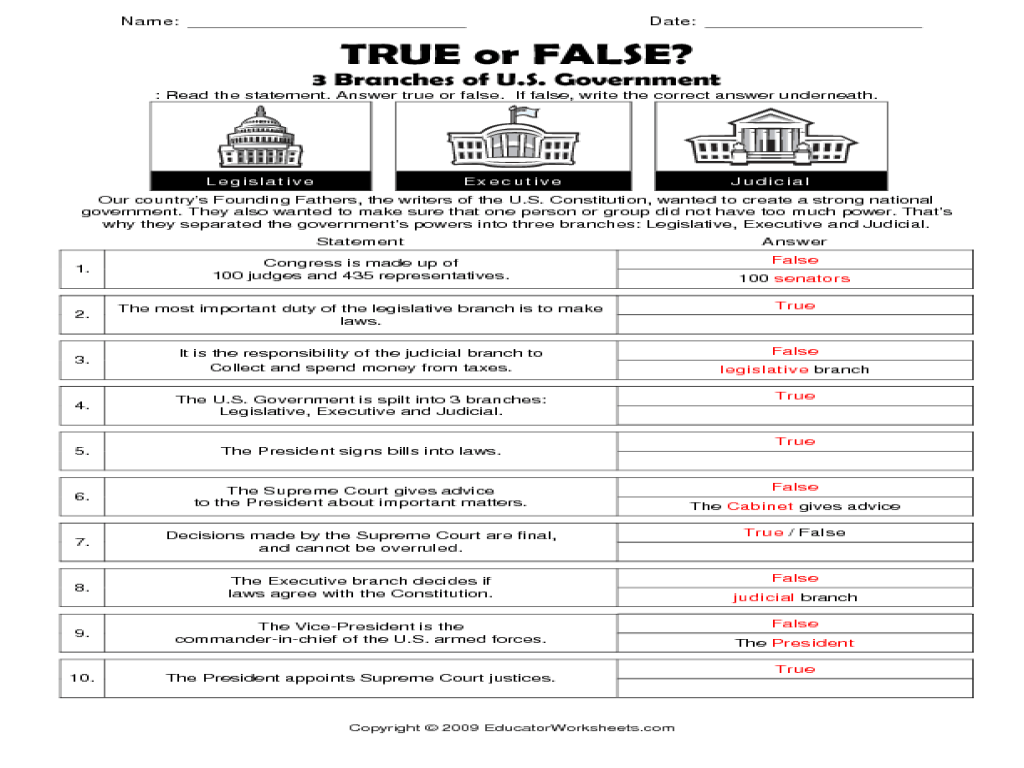 12 Best Images Of Worksheets About Branches Of Government