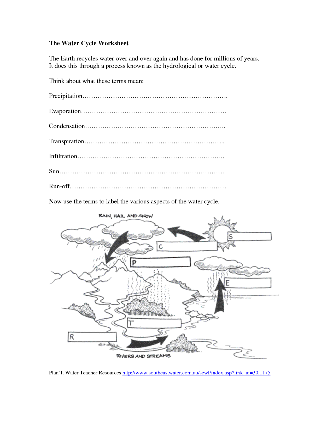 Water Cycle Worksheet Kids