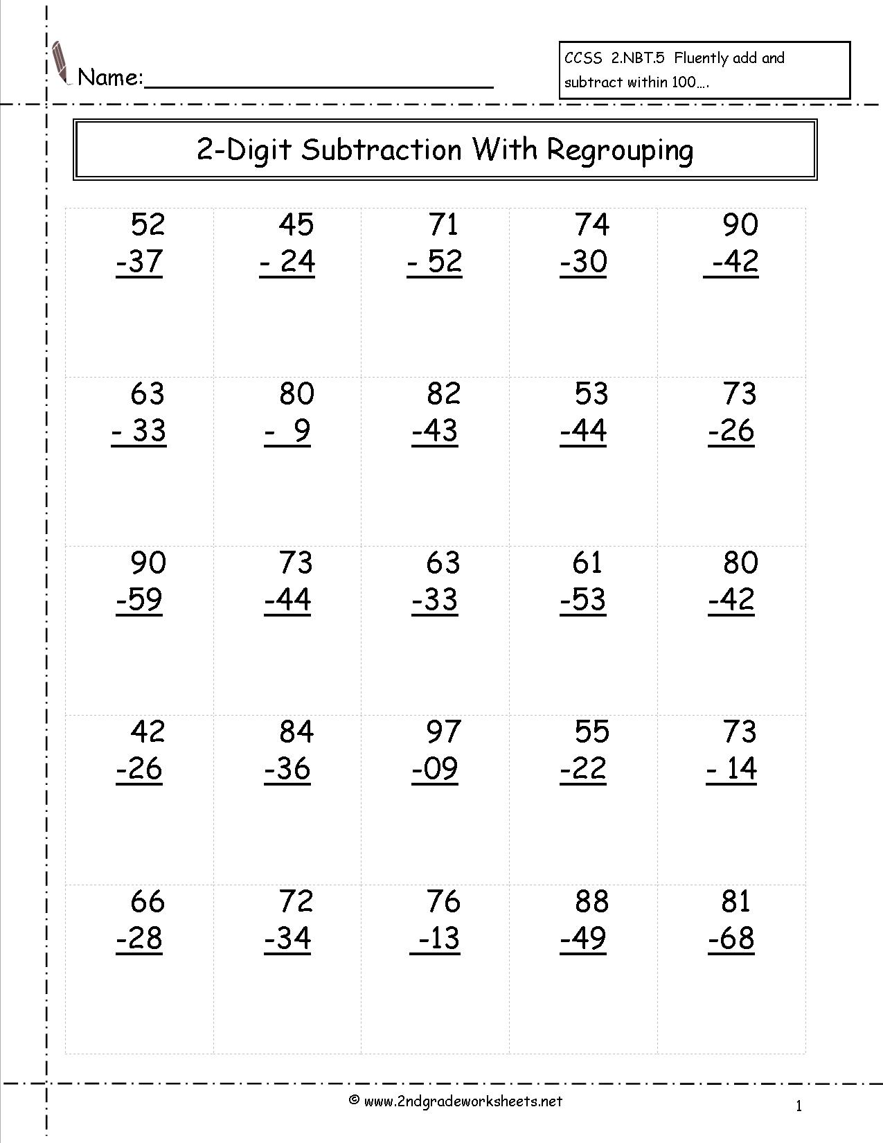15 Best Images Of 2nd Grade Subtraction Worksheets 100