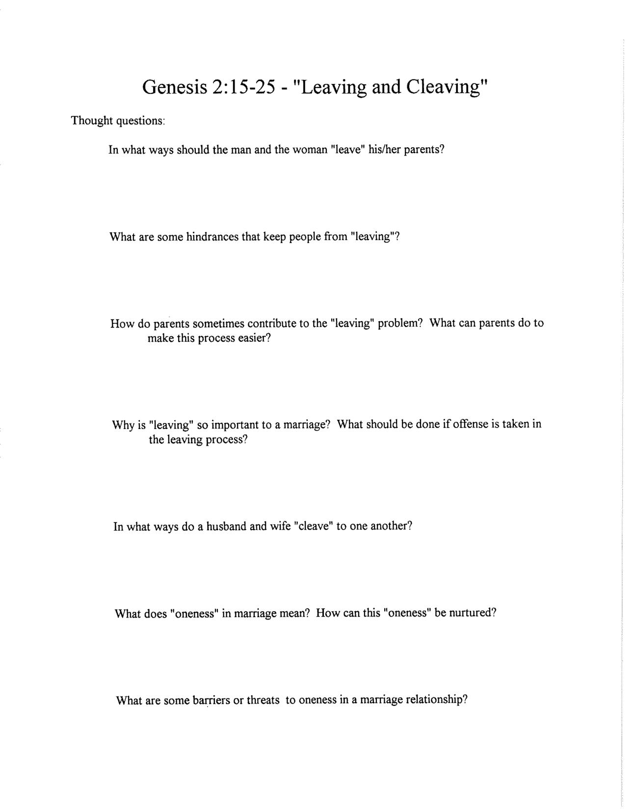 Marriage Worksheet Printable