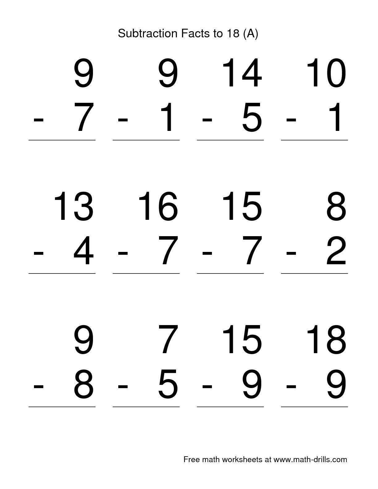 11 Best Images Of Basic Subtraction Worksheets For