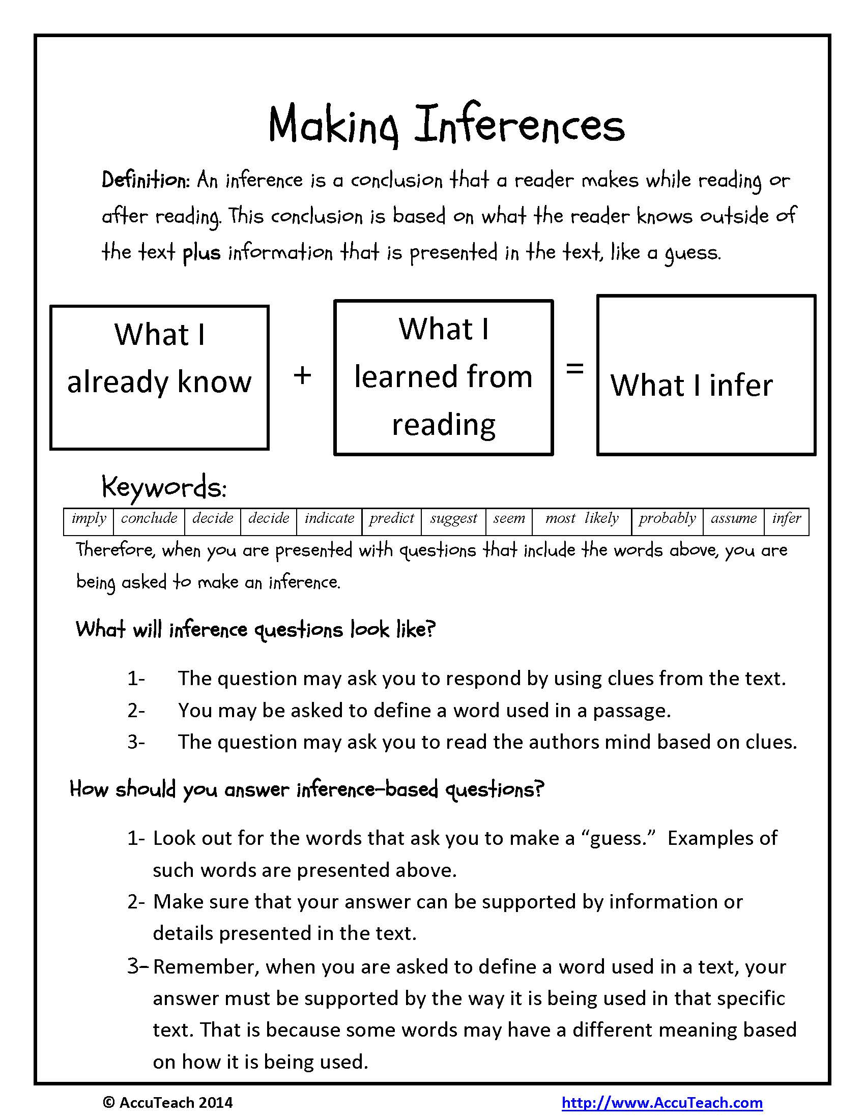 Inference Worksheet High School