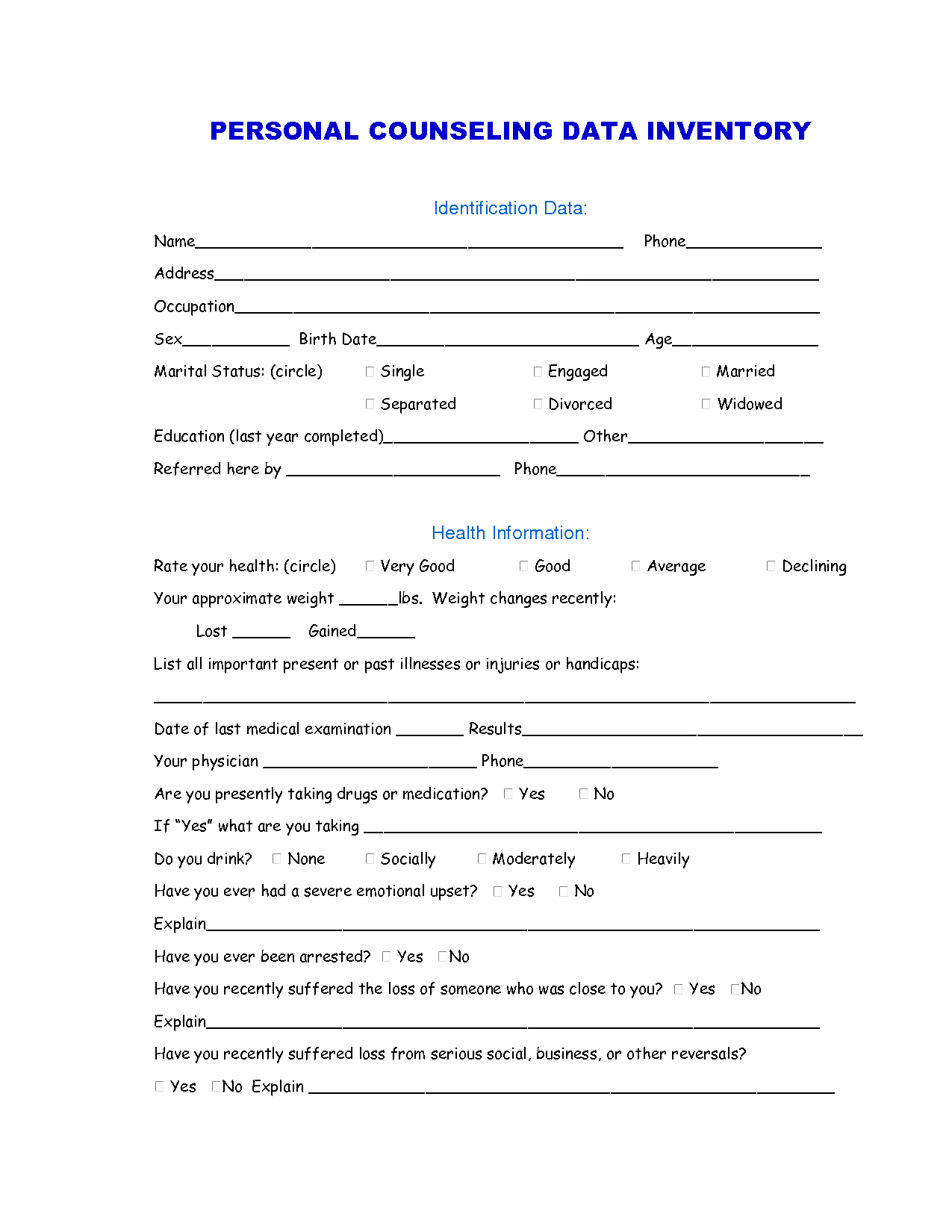 Marriage Self Help Worksheets