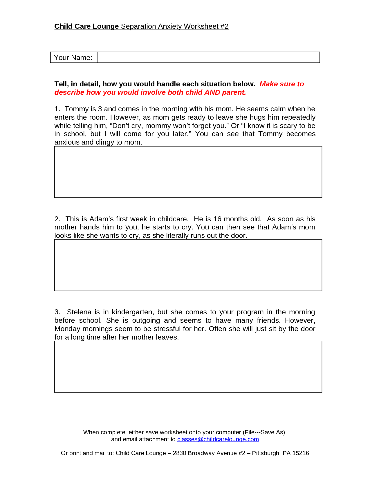 12 Step Worksheet Stress