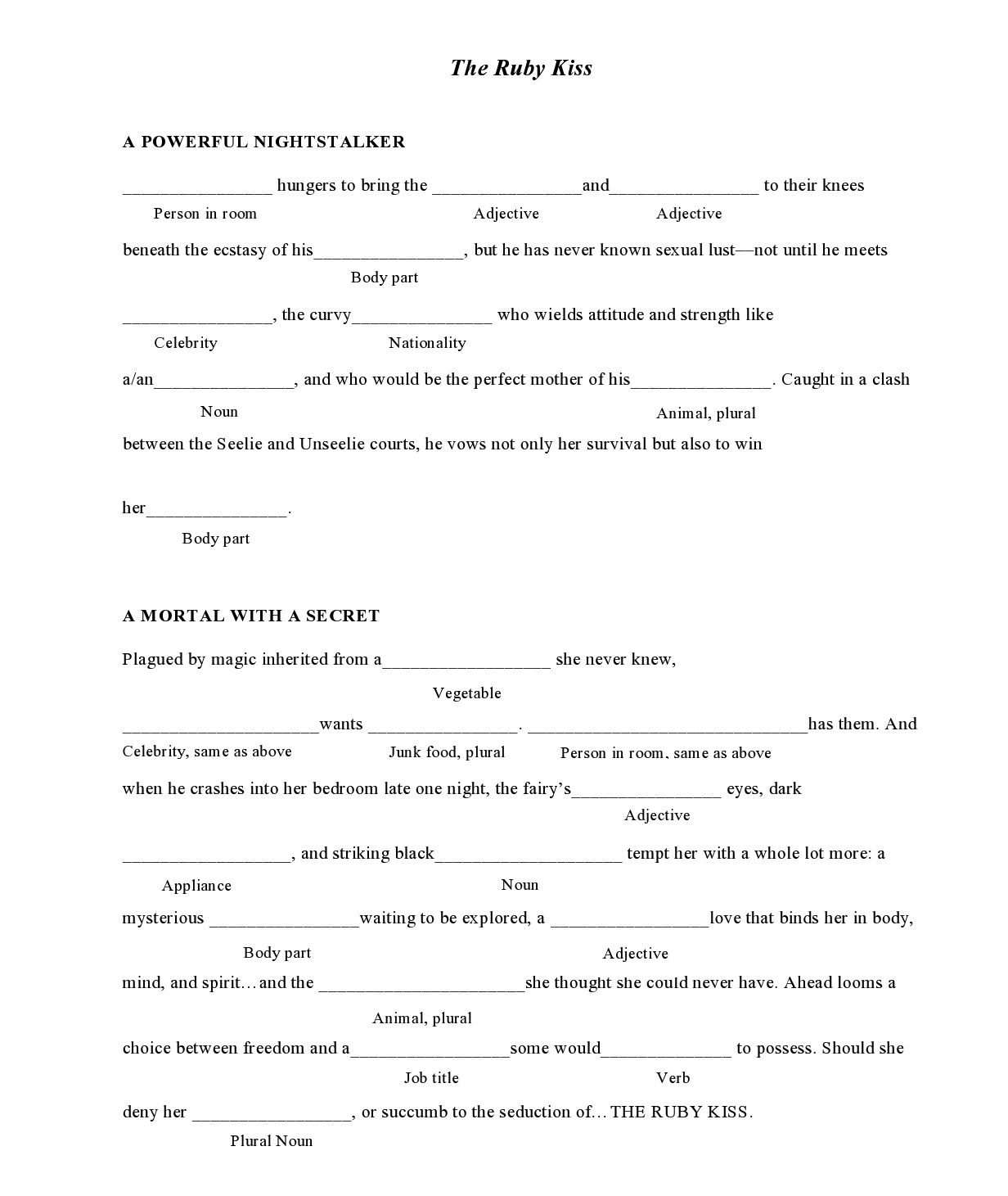 8 Best Images Of Mad Libs Printable Worksheets
