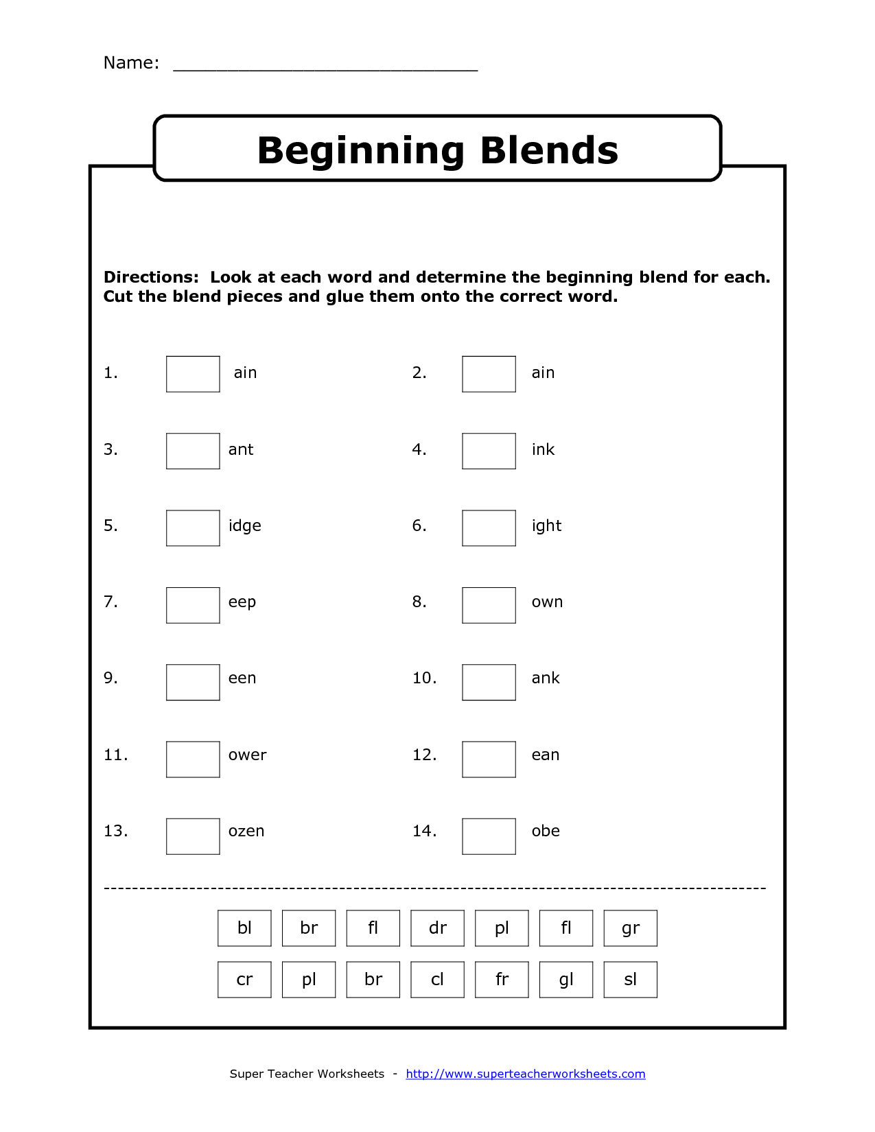 Initial Blends Worksheets Br