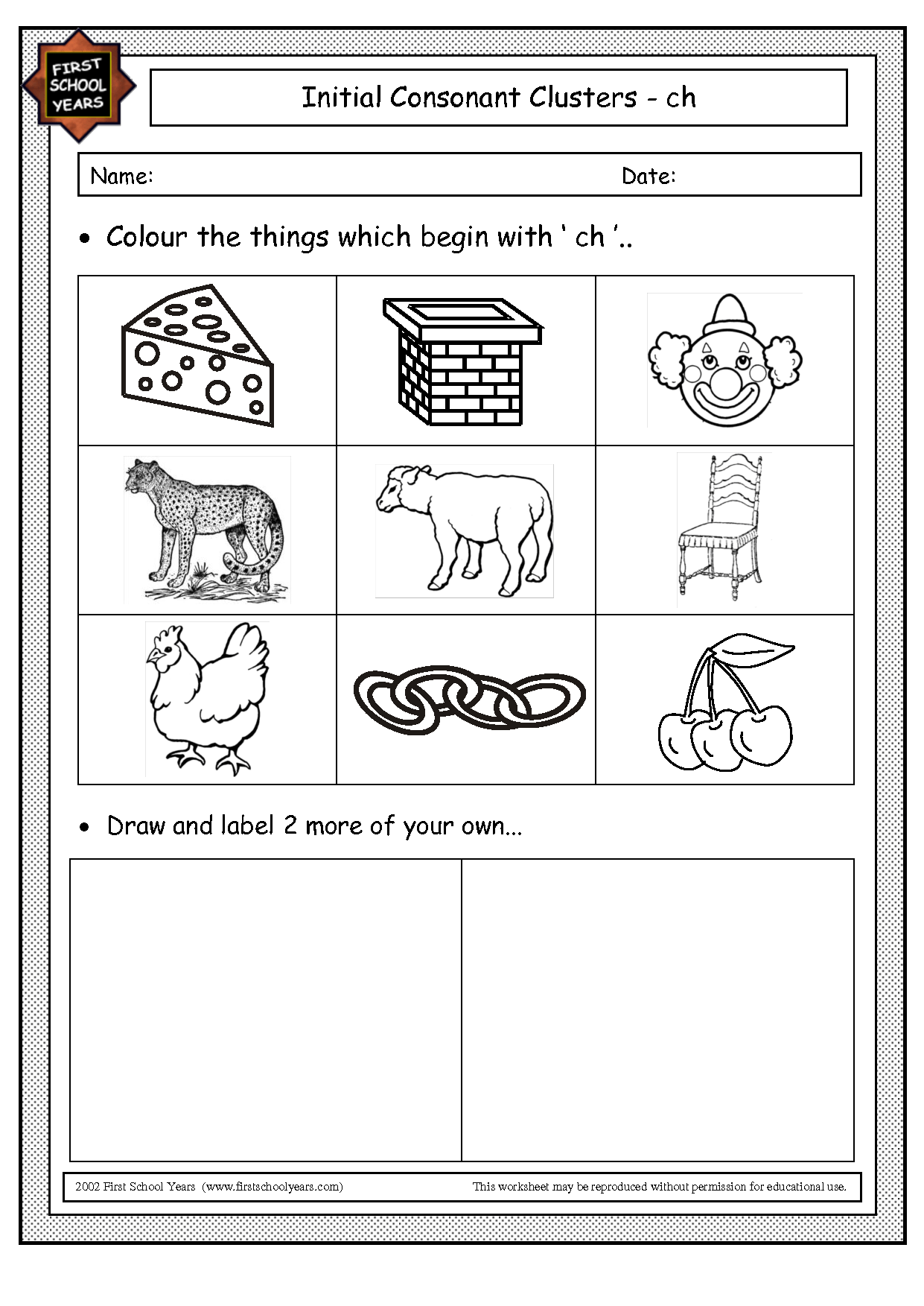 Phonics Blends Worksheet Ch Blend