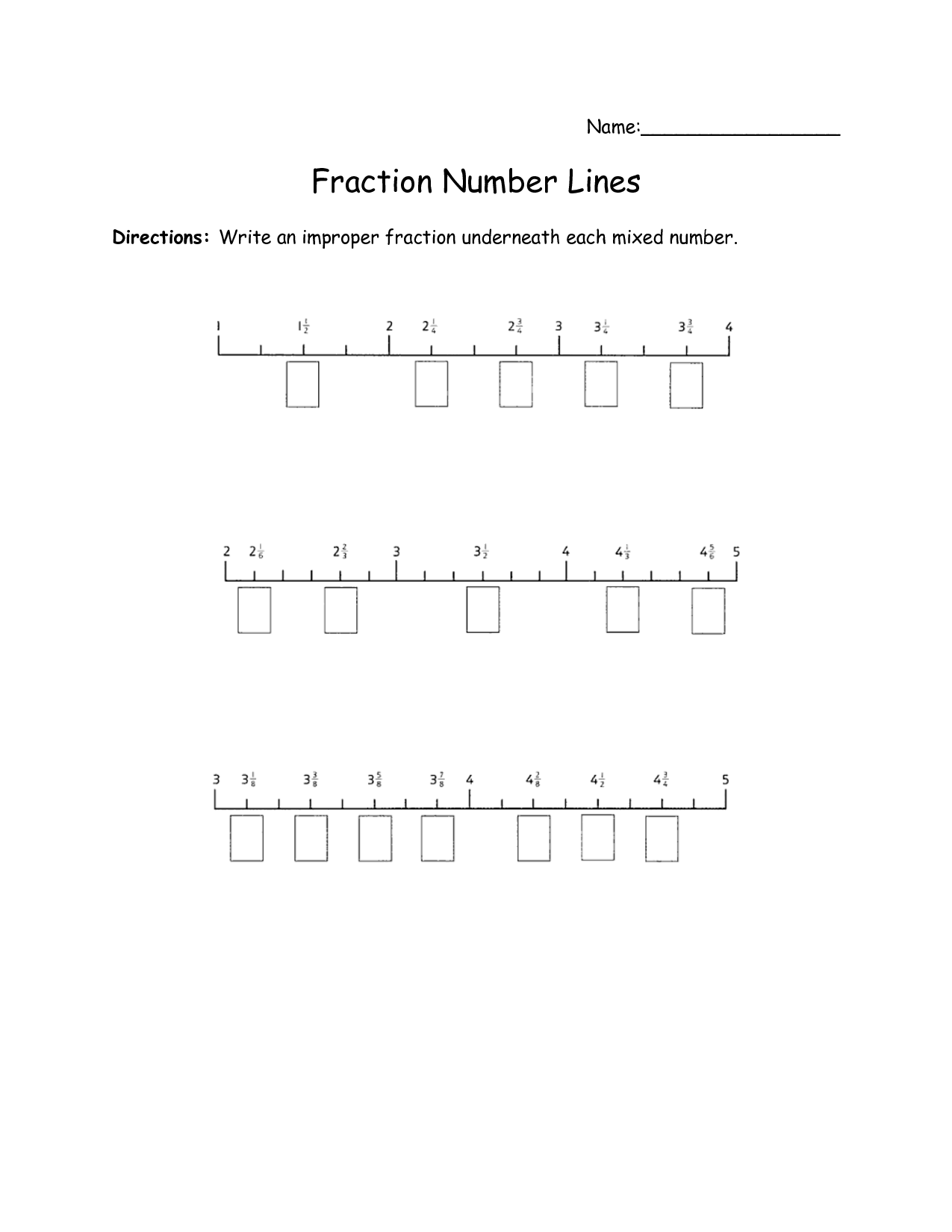 Ordering Fractions On A Number Line Worksheet