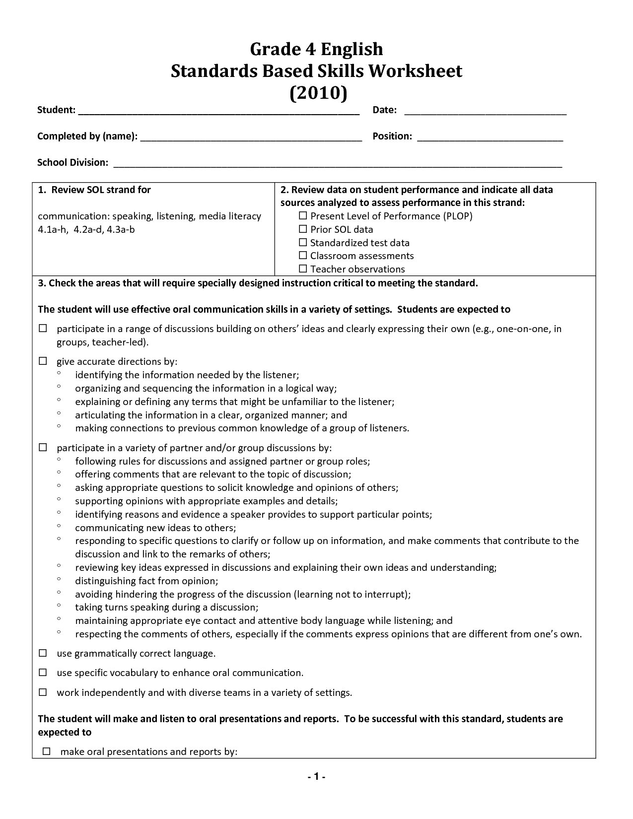 Grade 8 English Grammar Worksheet