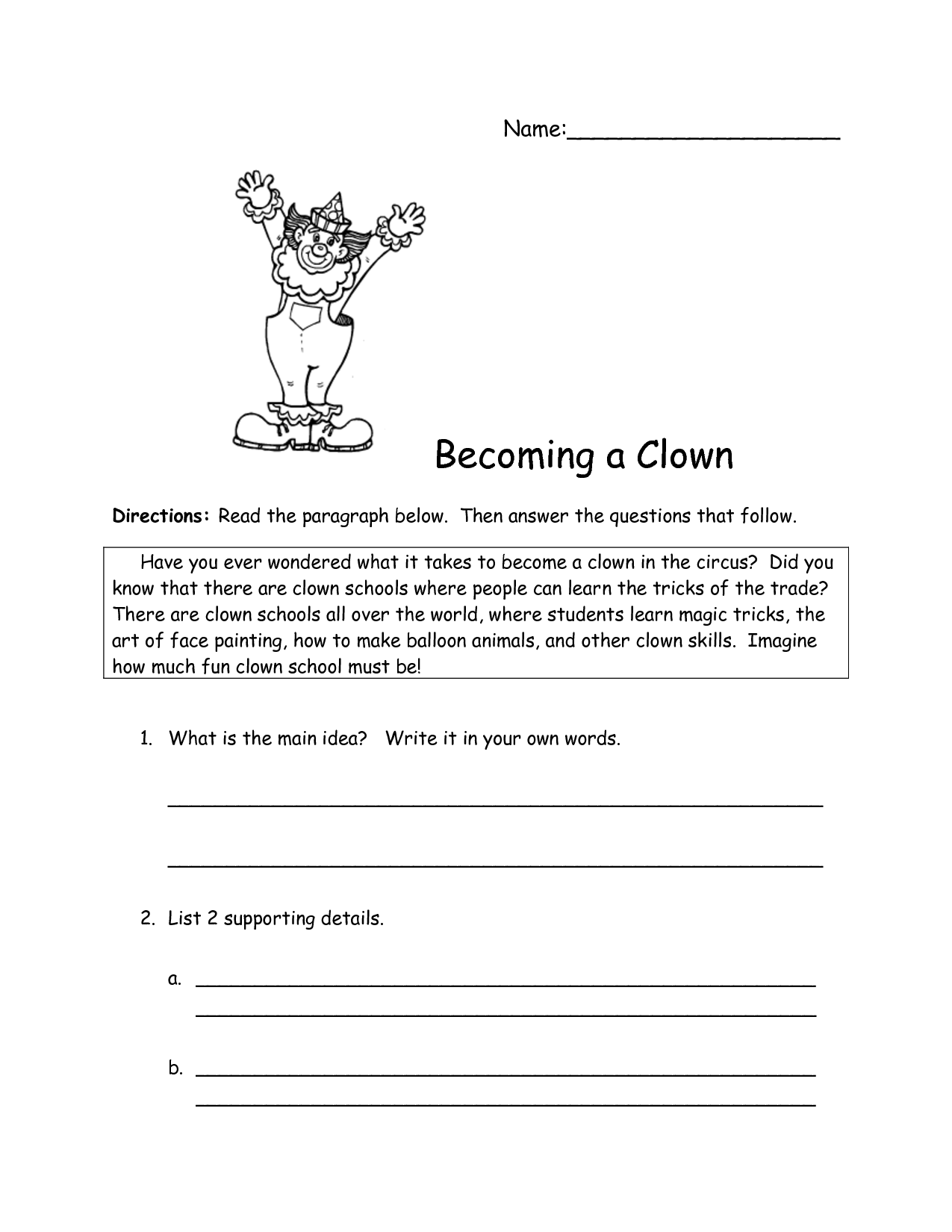 Main Idea Worksheet High School