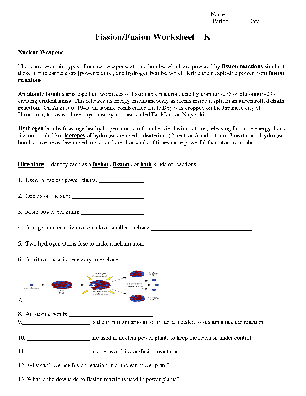 Nuclear Fission And Fusion Worksheet Pogil Answers Tom Schoderbek Chemistry Nuclear Fission And