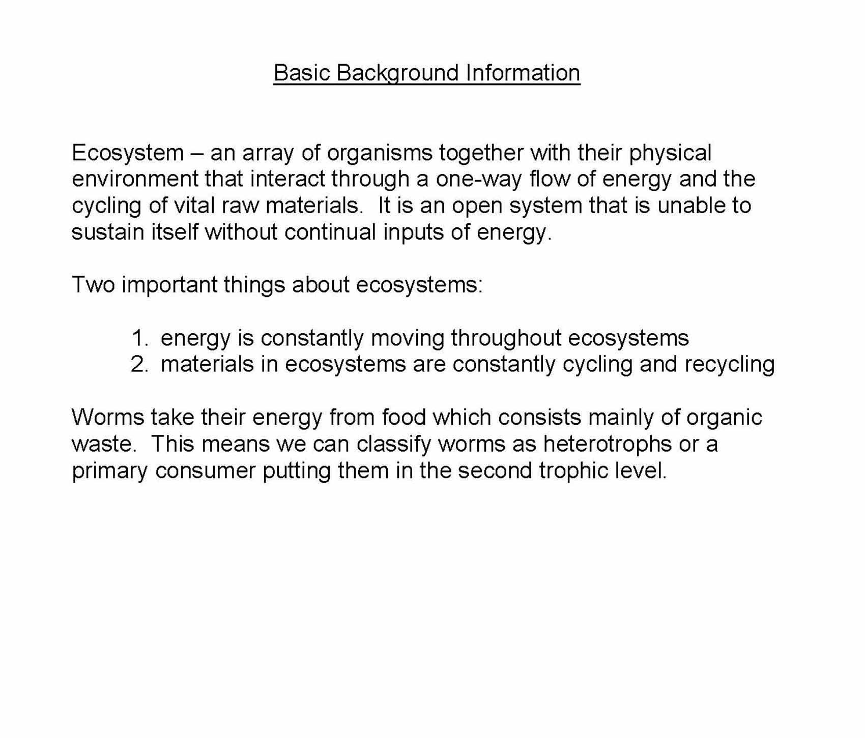 Ecosystem Worksheet Answer Key