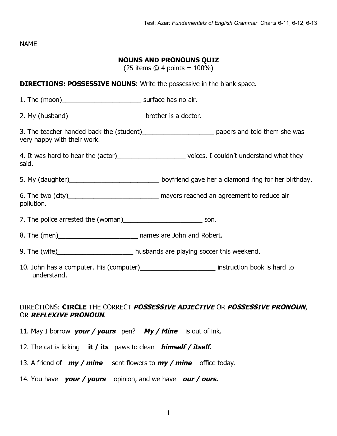 Possessive Pronouns Worksheet Spanish