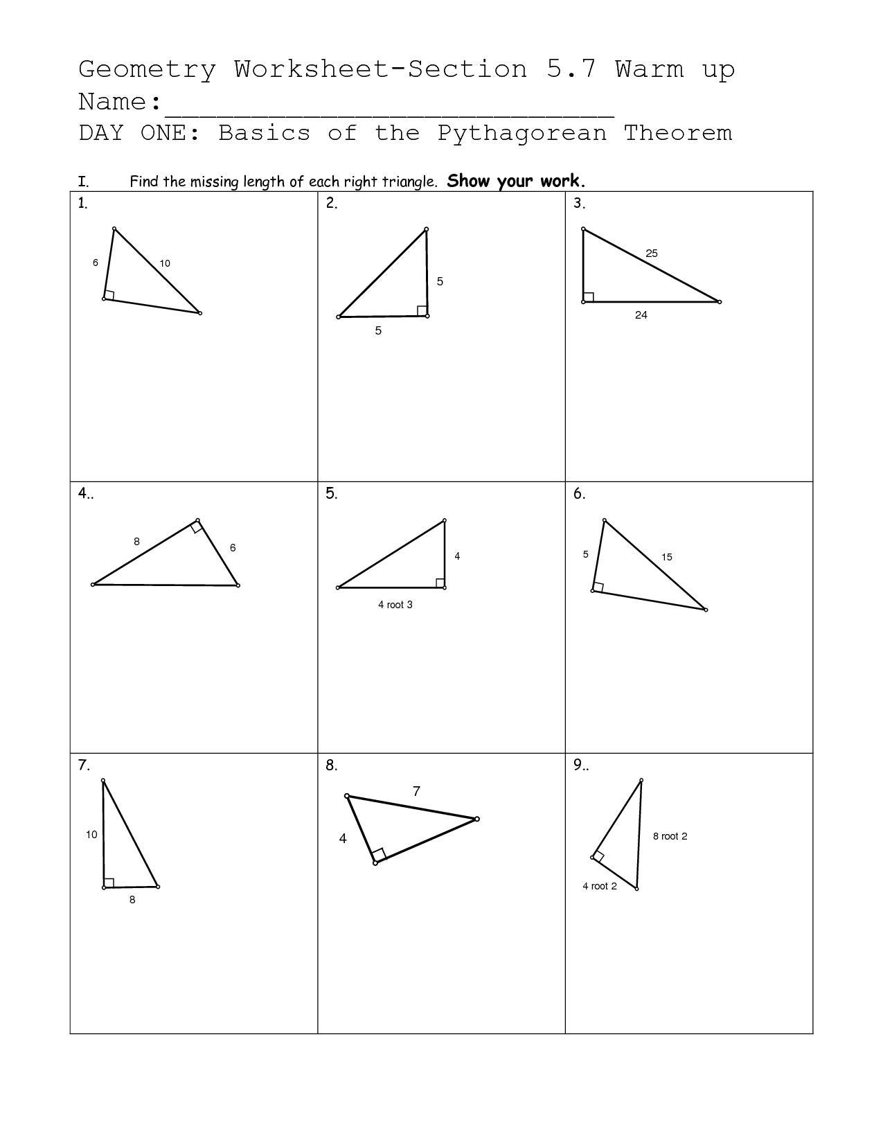 10 Best Images Of Pythagorean Theorem Worksheets Printable