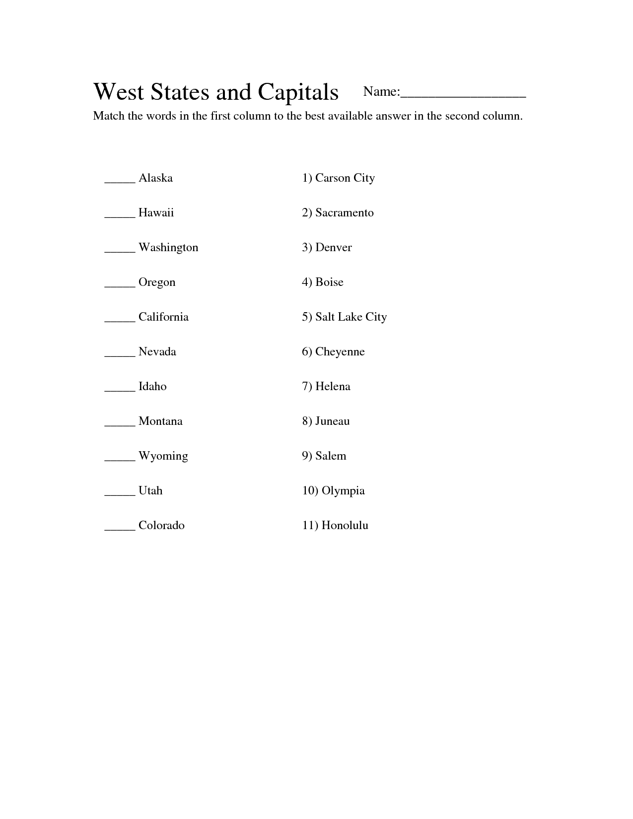 7 Best Images Of Western States Worksheet