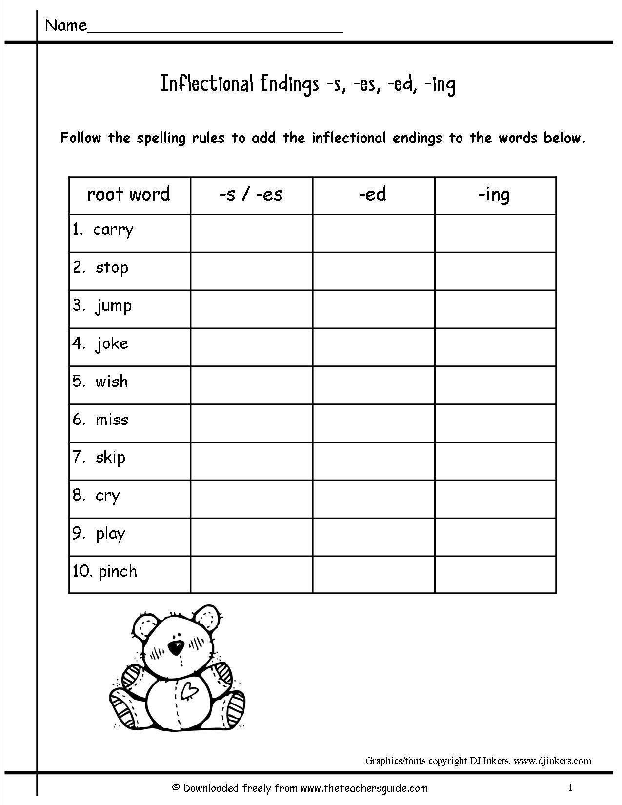 First Grade Worksheet For Ending