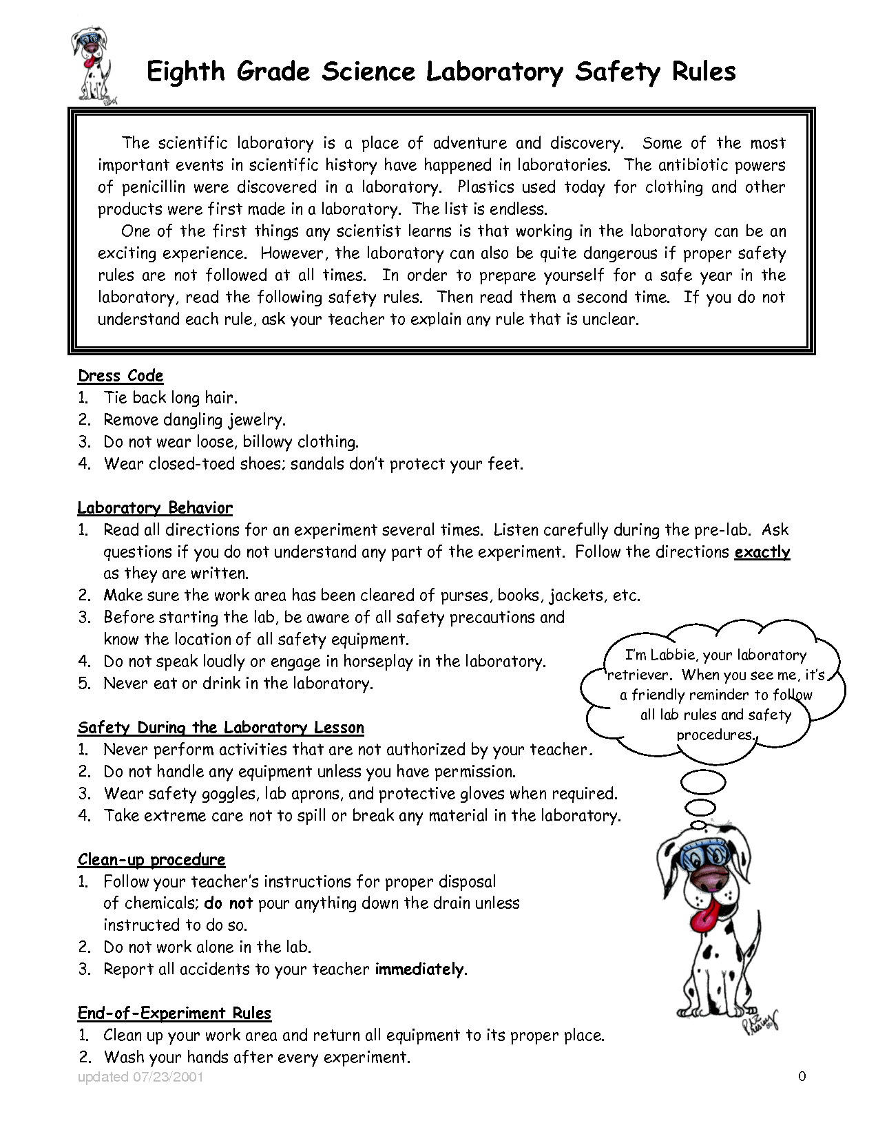 35 Lab Safety Rules Worksheet