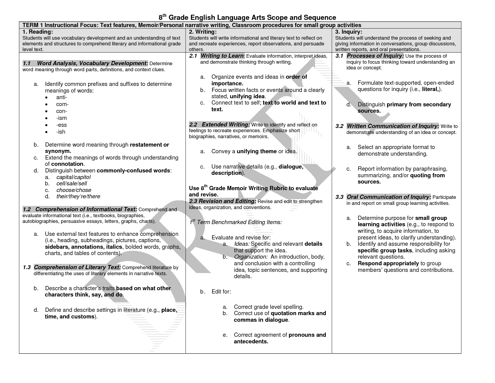 Grade 8 English Language Worksheet