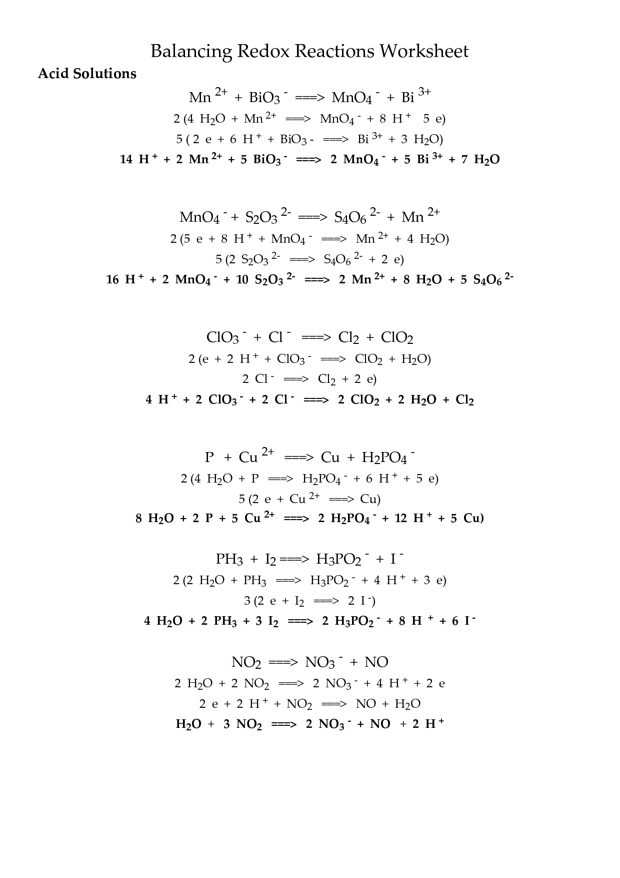 Redox Half Reactions Worksheet With Answers