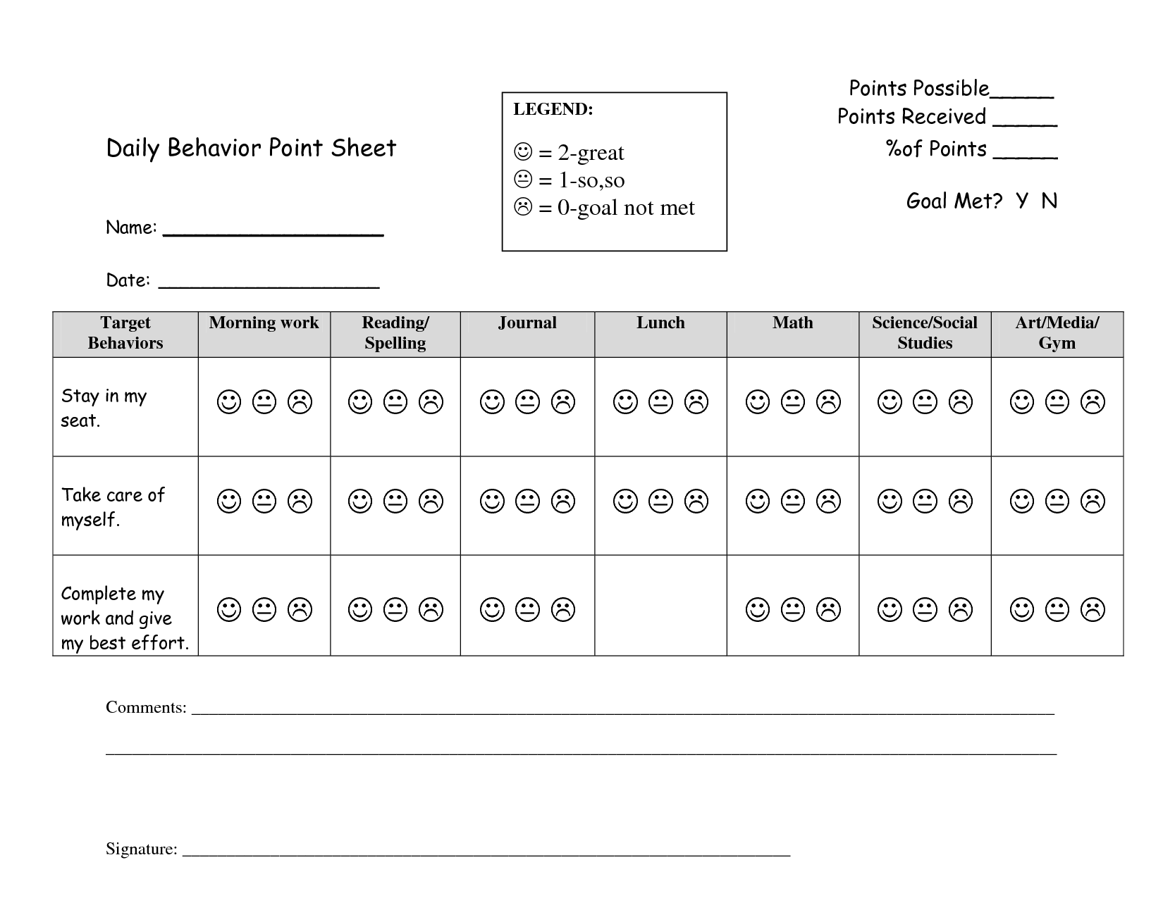 17 Best Images Of Behavior Goals Worksheet