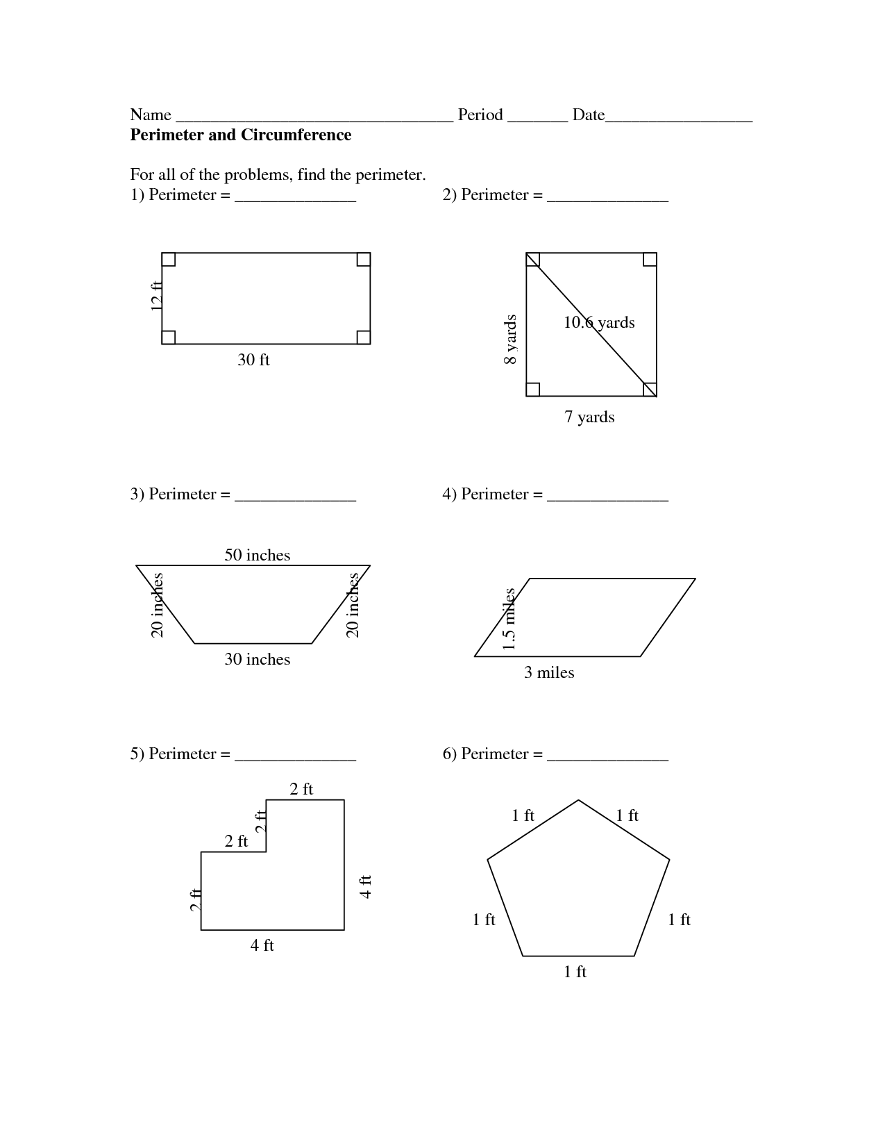 8 Best Images Of Area Circumference Circle Worksheet