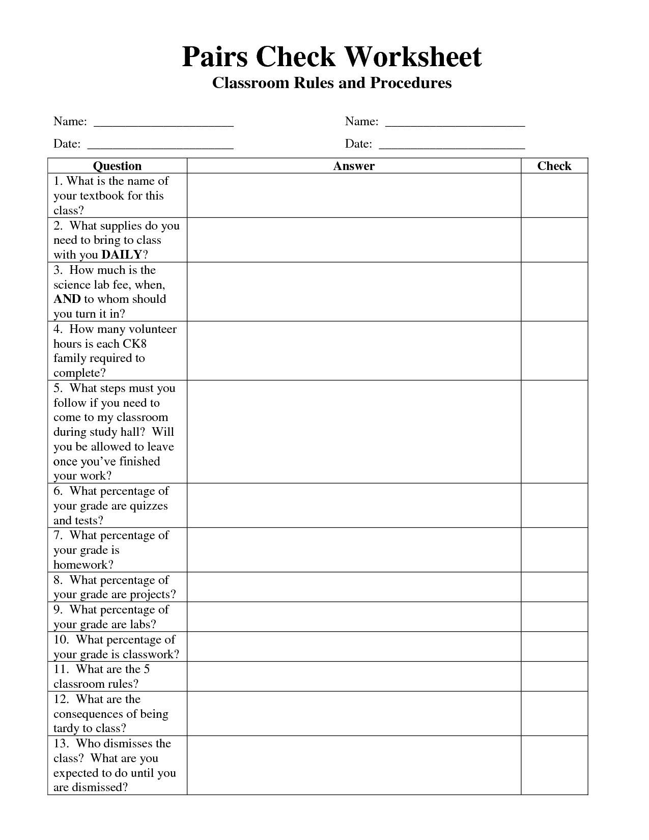 16 Best Images Of Class Rules Worksheet
