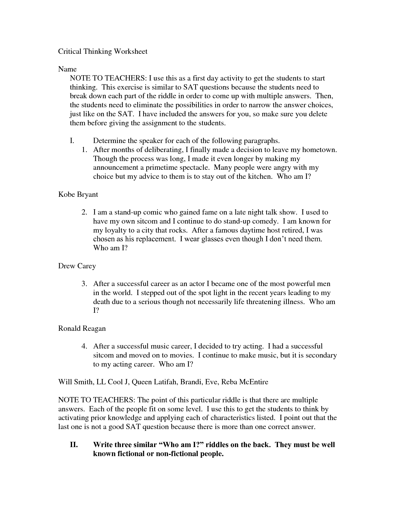 Control Worksheet