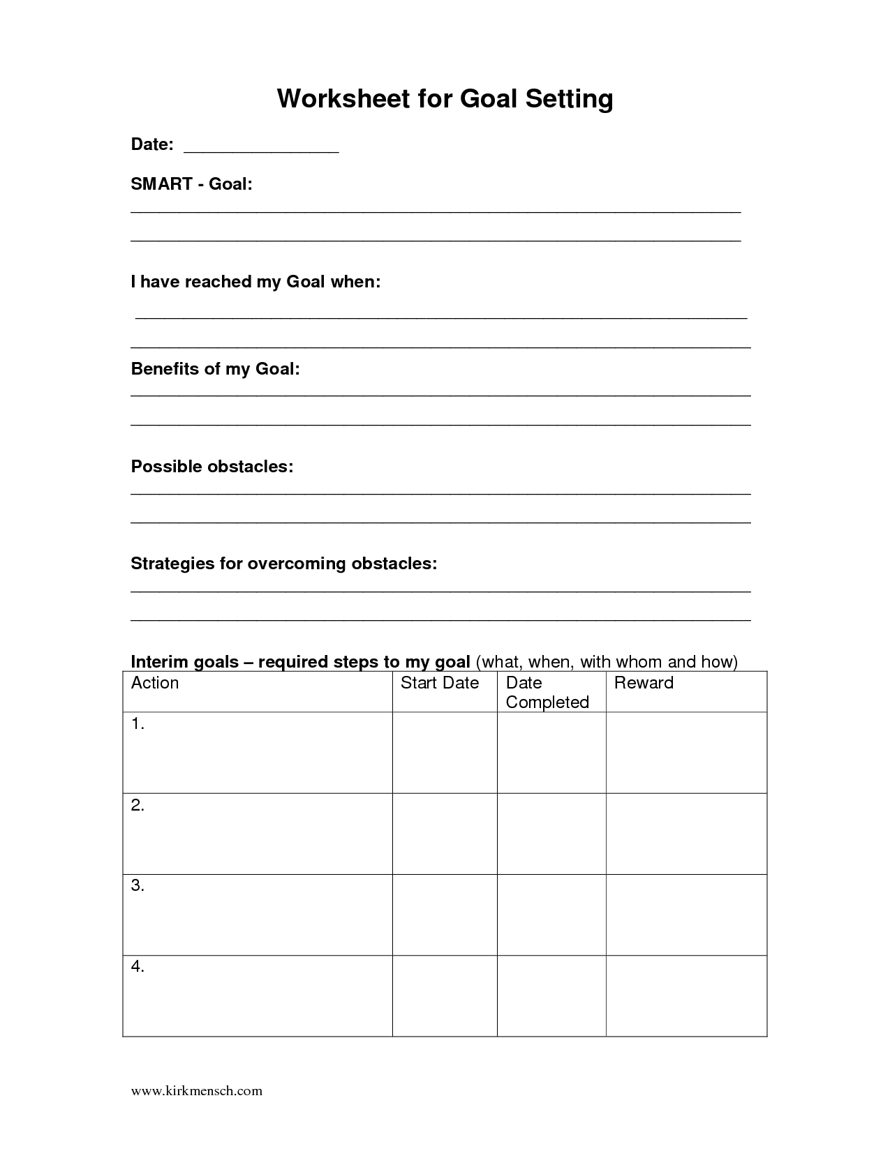17 Best Images Of Goal Setting Worksheet For Kids