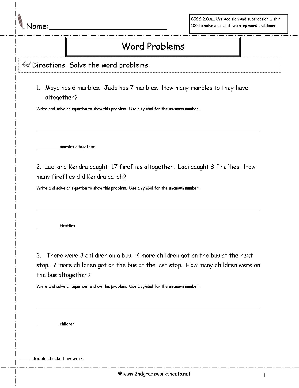 Word Problems Homework Worksheet