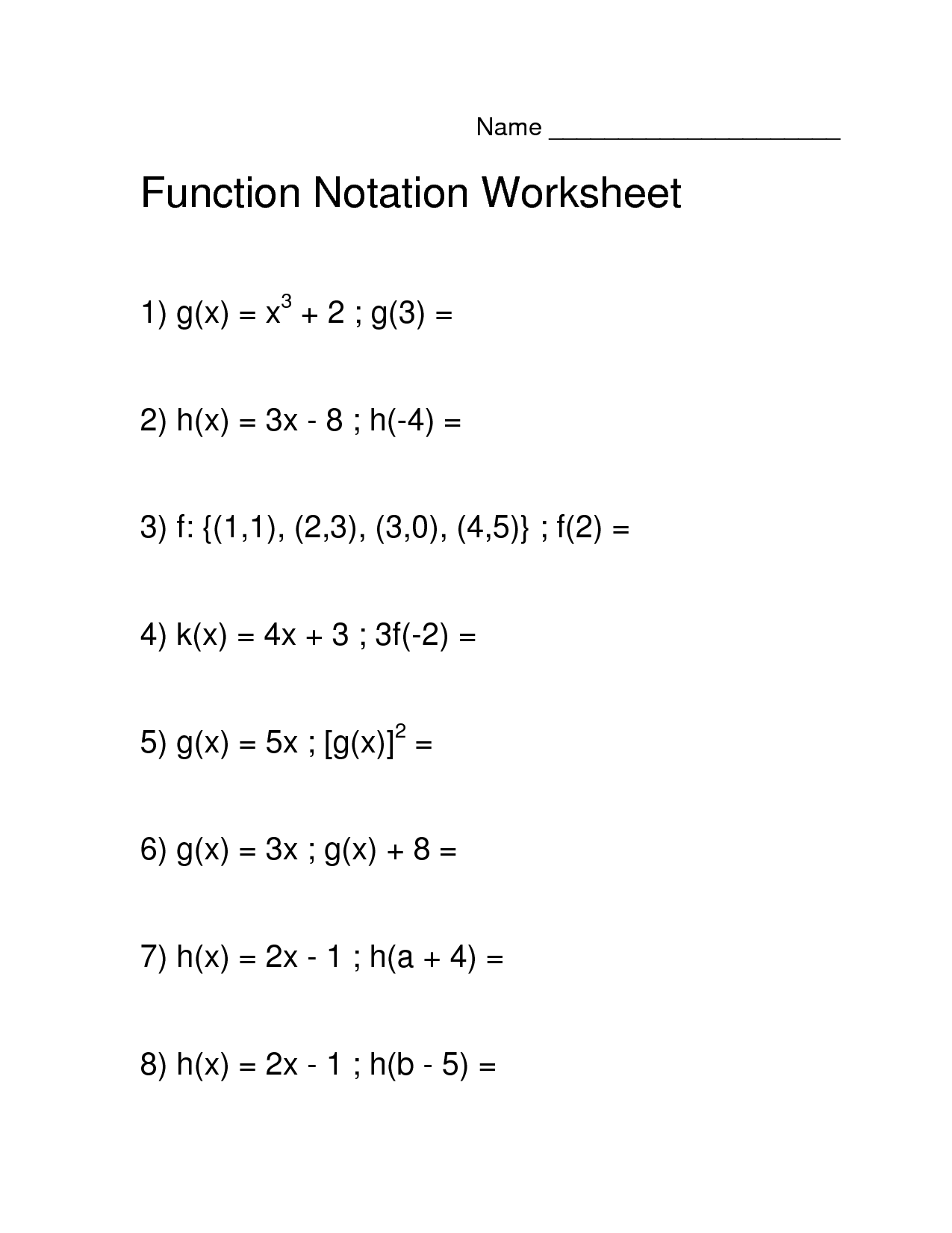 Worksheets Algebra 1 Function Notation Worksheet Answers Cheatslist Free Worksheets For Kids