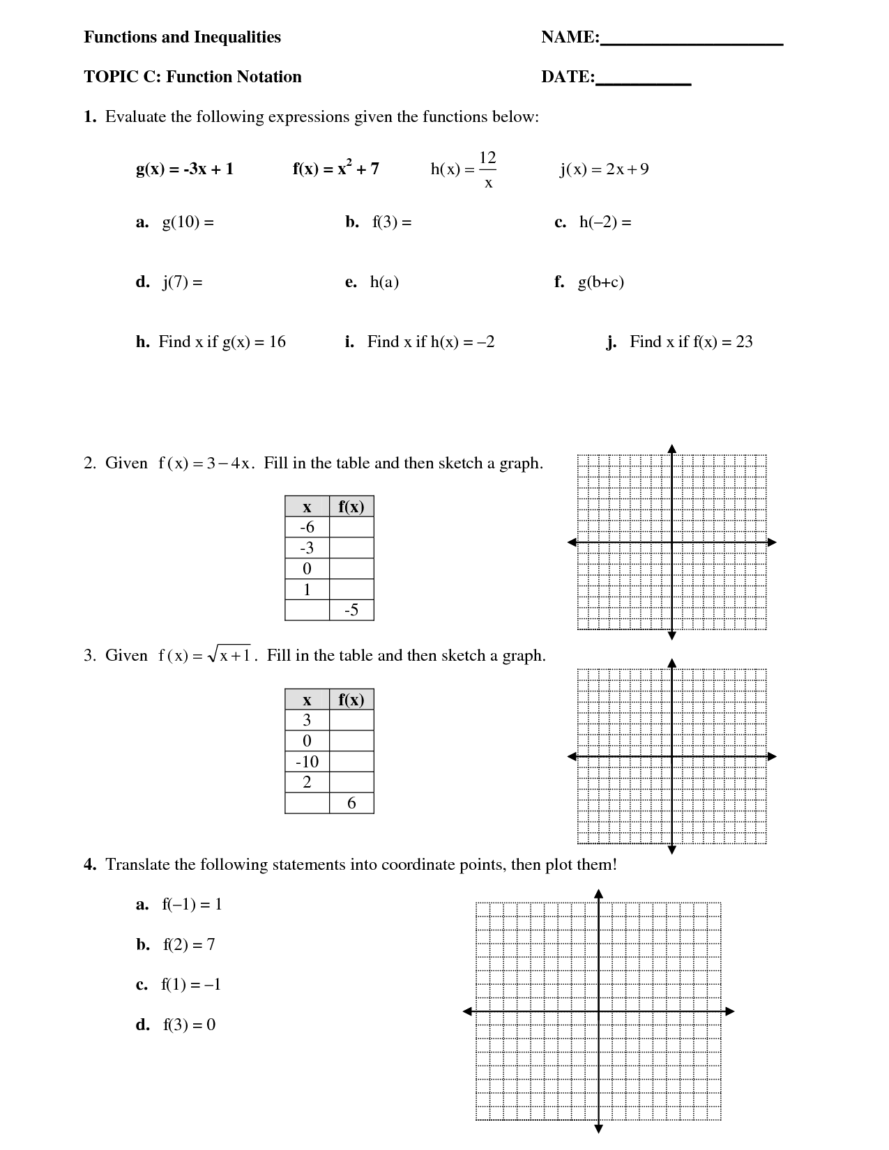 Algebra Functions Worksheet
